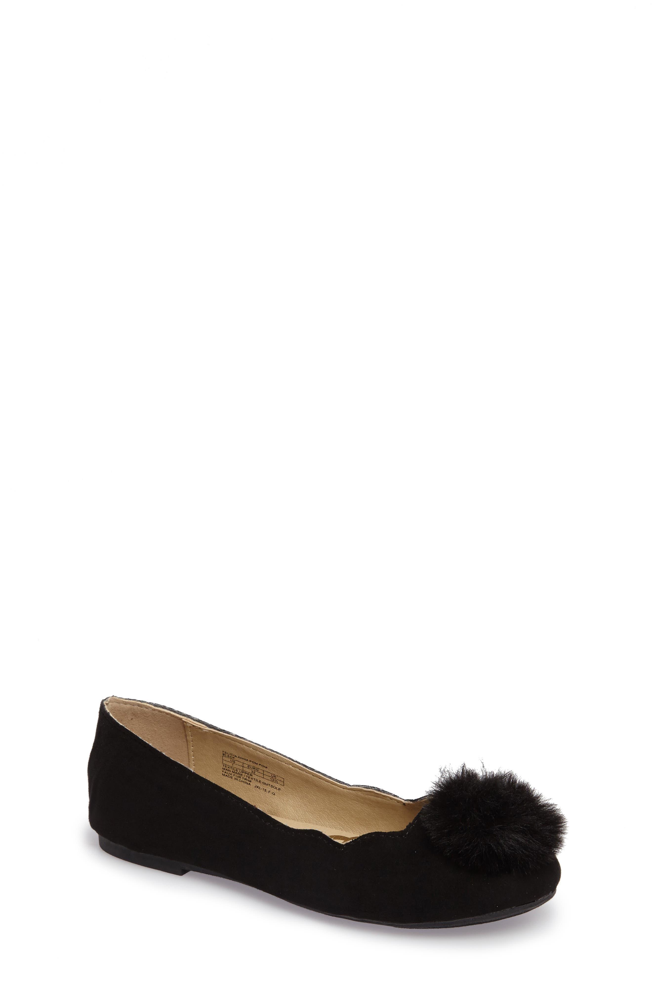 Felicia Anna Faux Fur Pom Flat,                         Main,                         color, 001