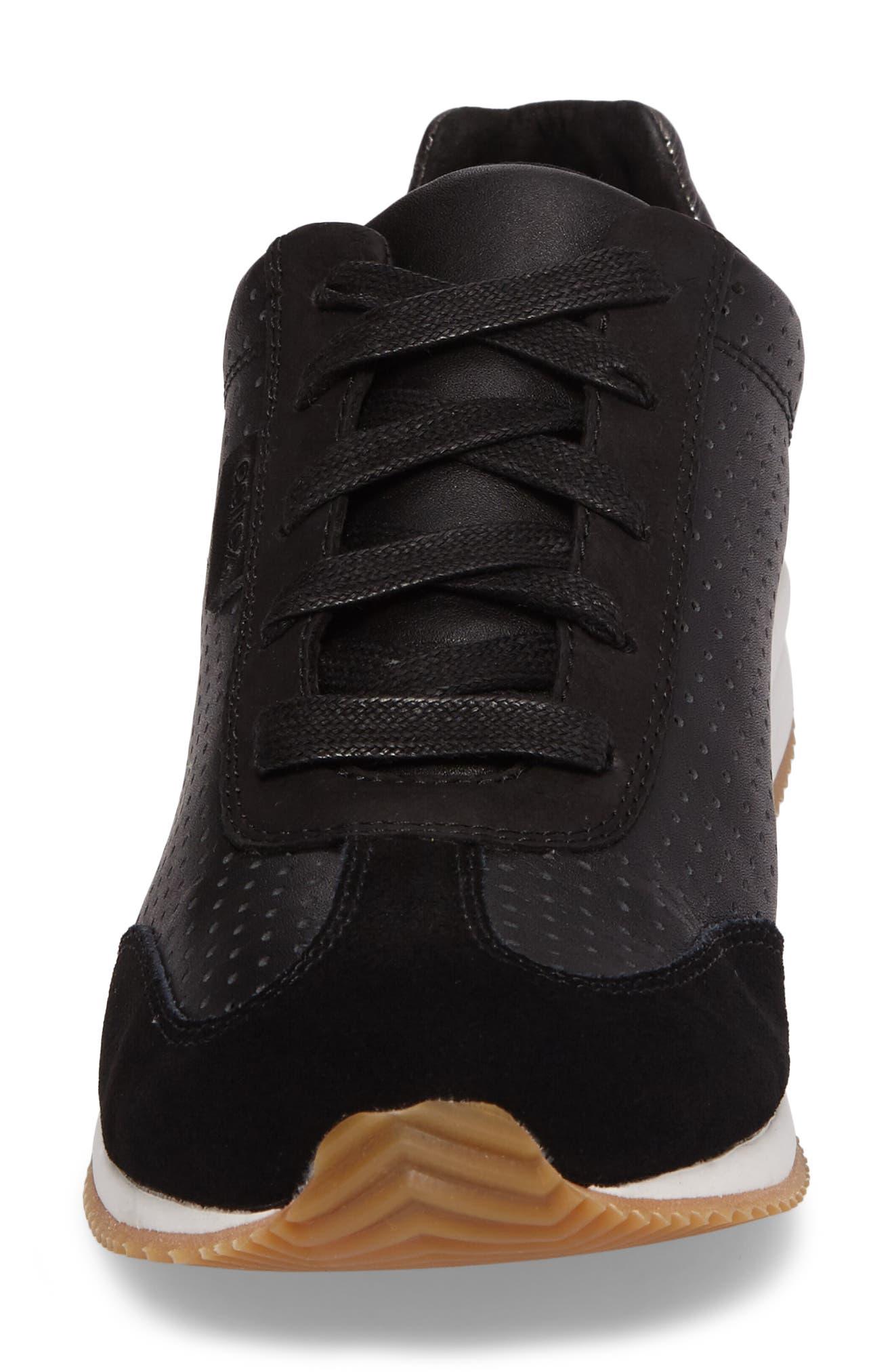 Nadia Sneaker,                             Alternate thumbnail 4, color,                             BLACK LEATHER