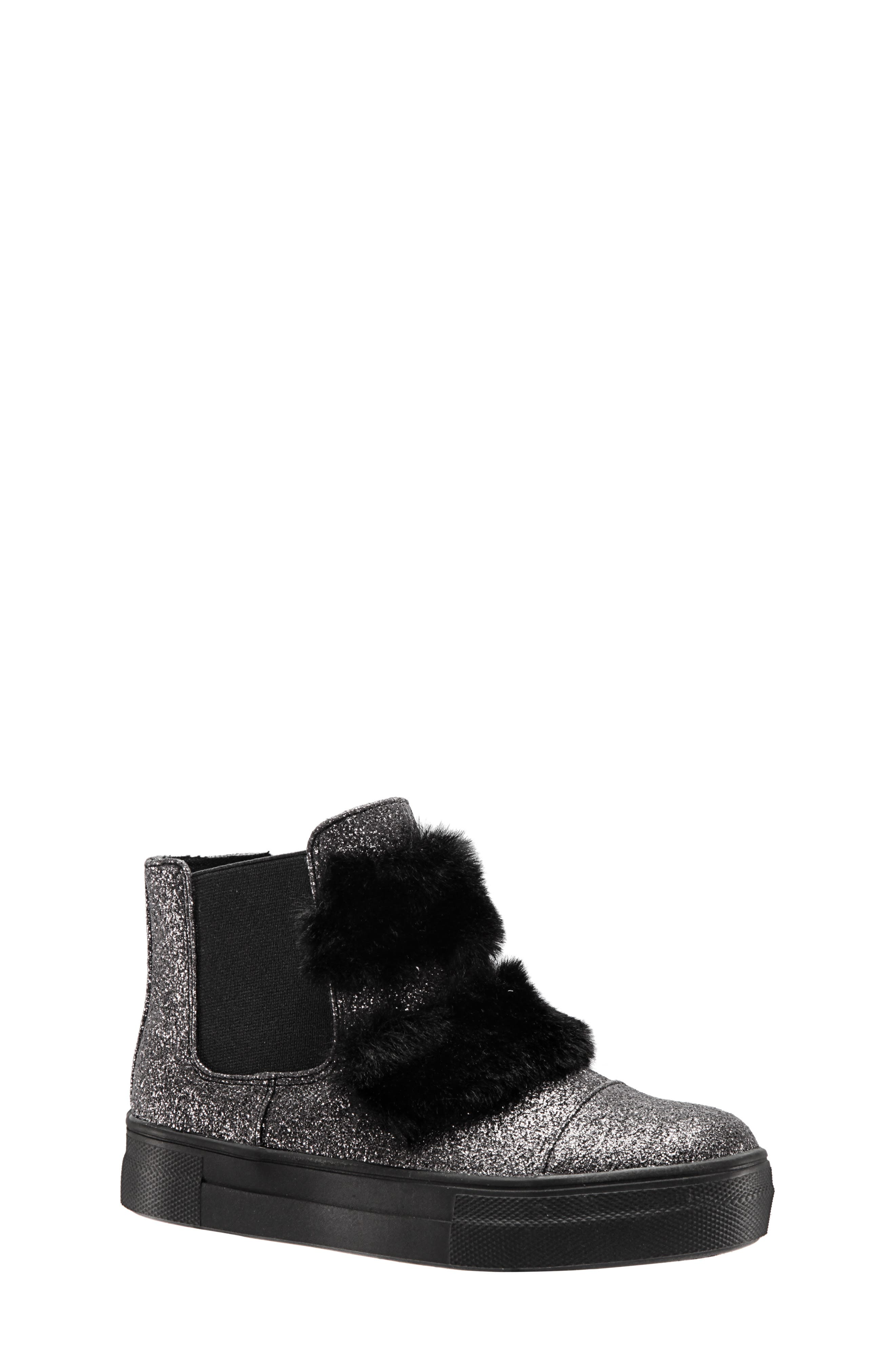 Helen Faux Fur Bootie Sneaker,                         Main,                         color, PEWTER CRACKLE METALLIC