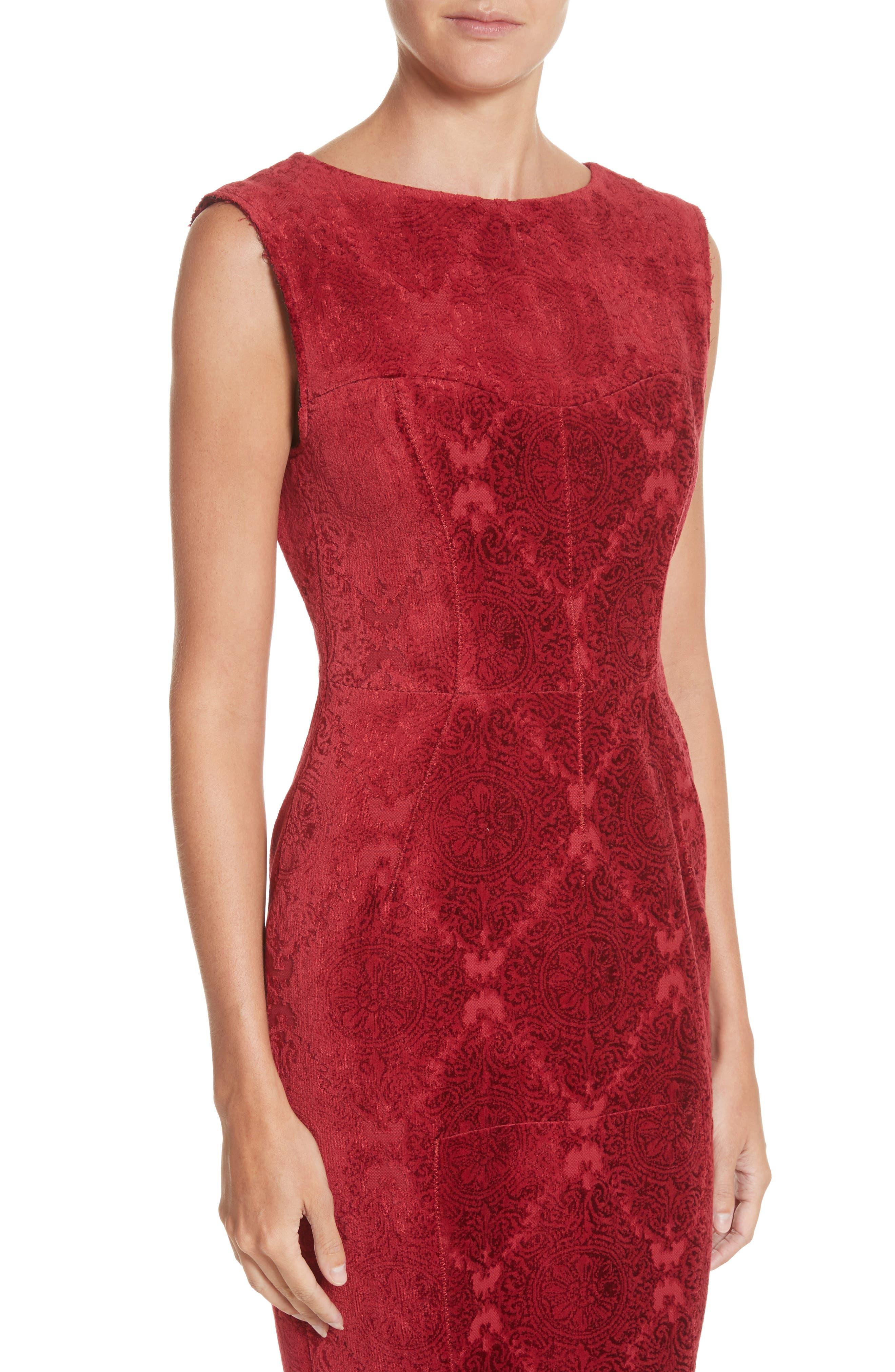 Detachable Sleeve Flocked Velvet Dress,                             Alternate thumbnail 4, color,                             600