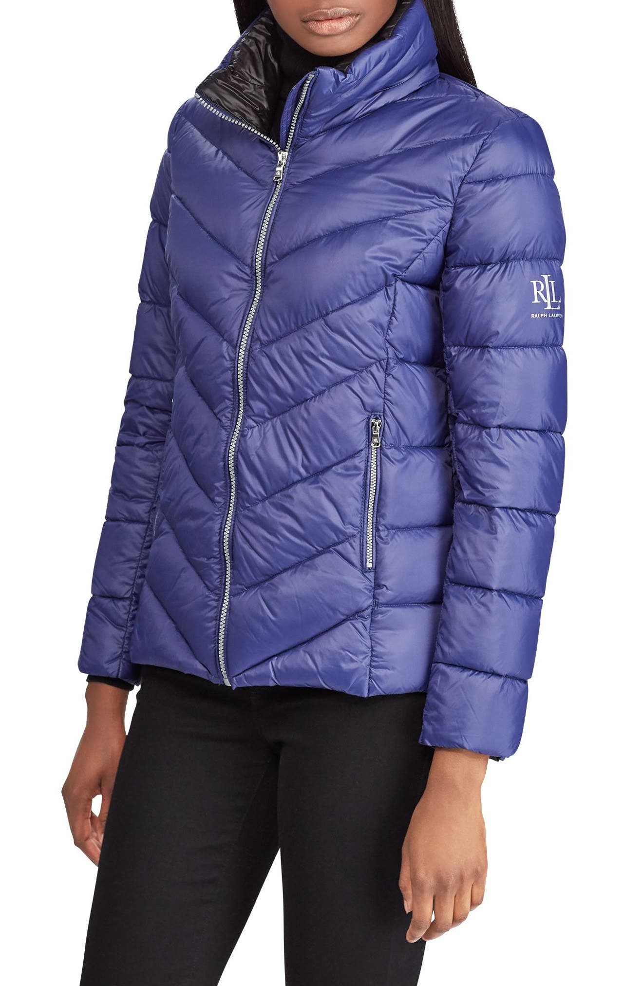 Lauren Ralph Lauren Chevron Quilted Packable Down Jacket, Blue