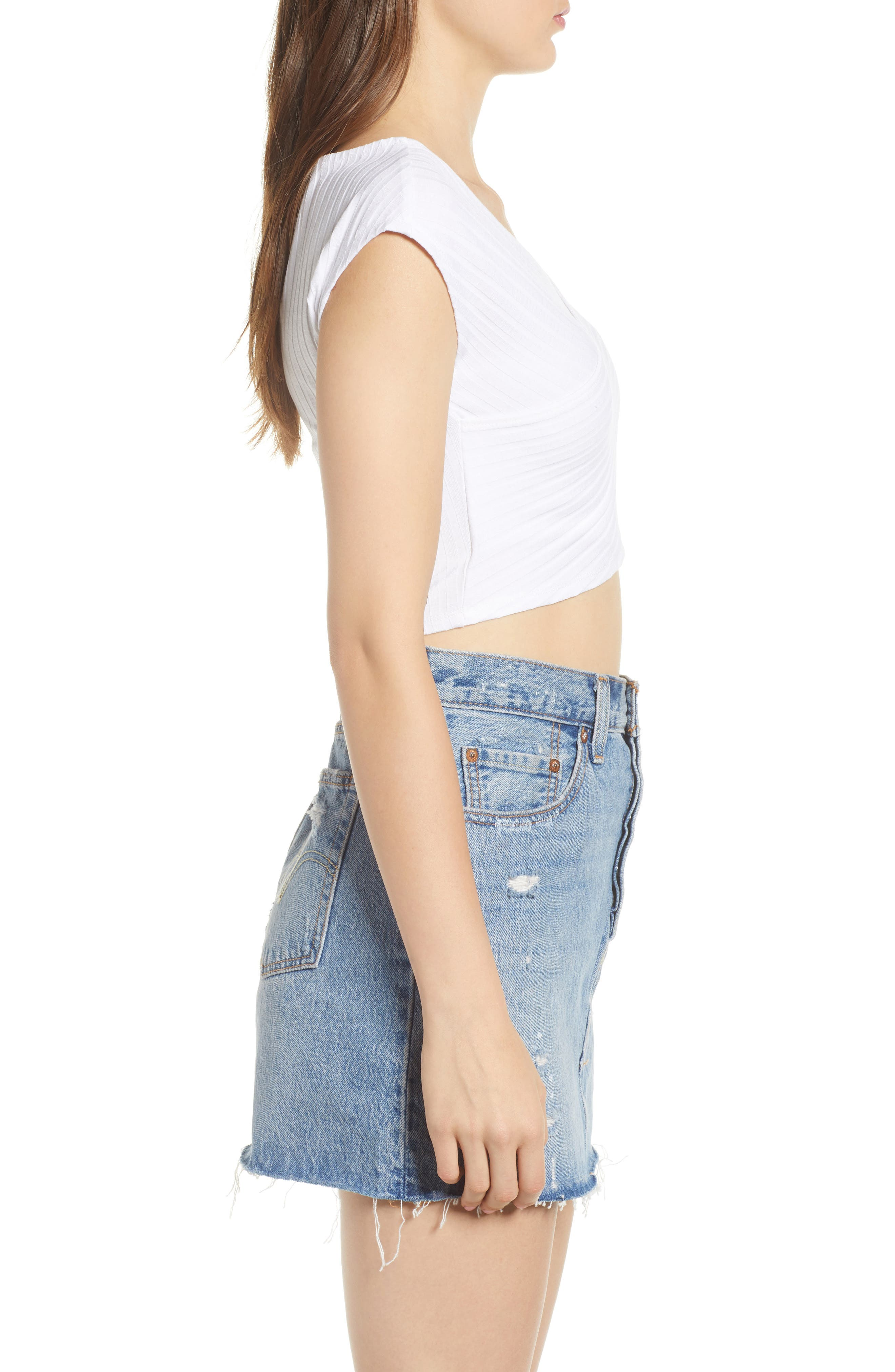 Ribbed Wrap Crop Top,                             Alternate thumbnail 3, color,                             WHITE