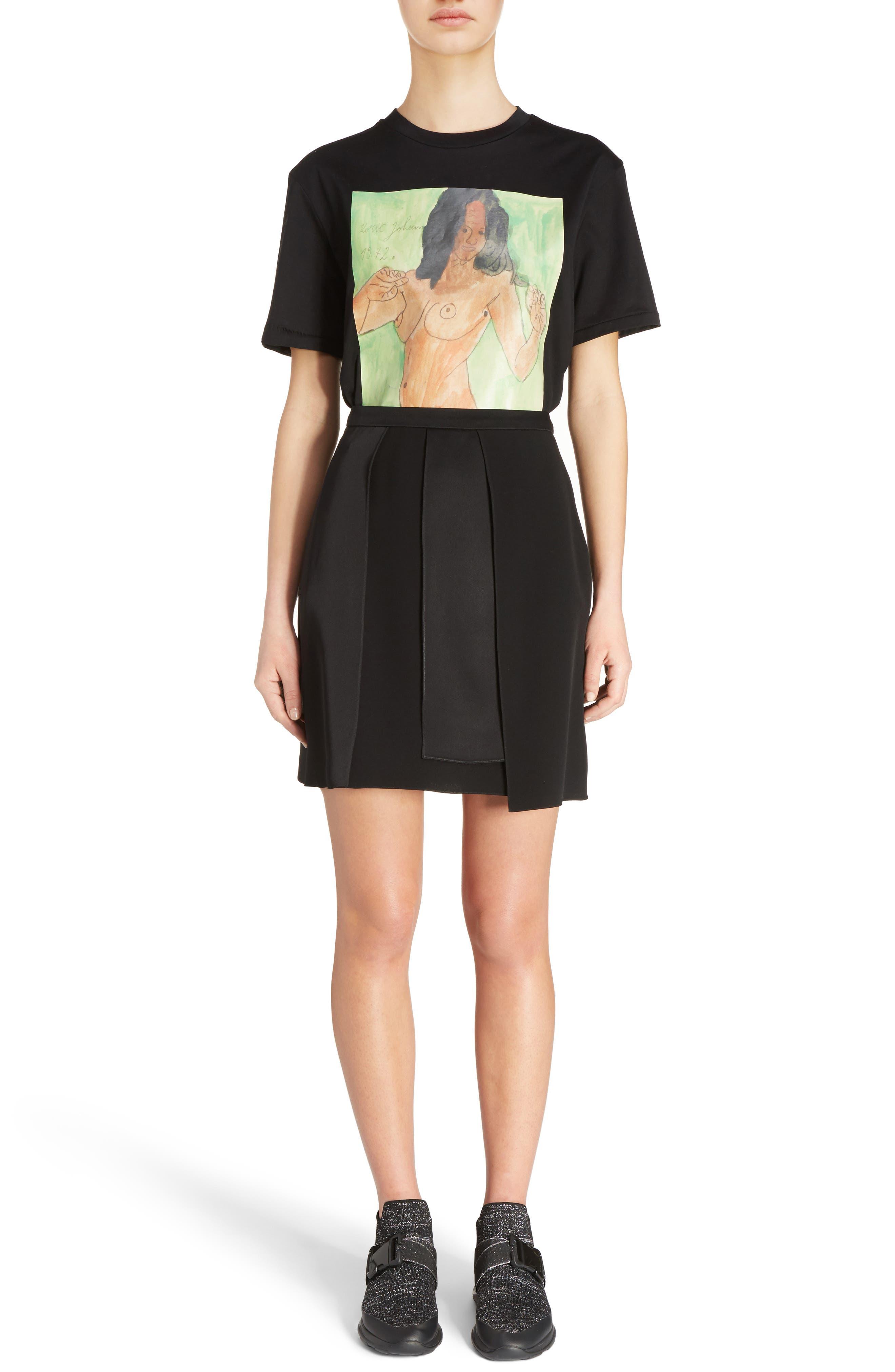 Layered Miniskirt,                             Alternate thumbnail 6, color,                             001
