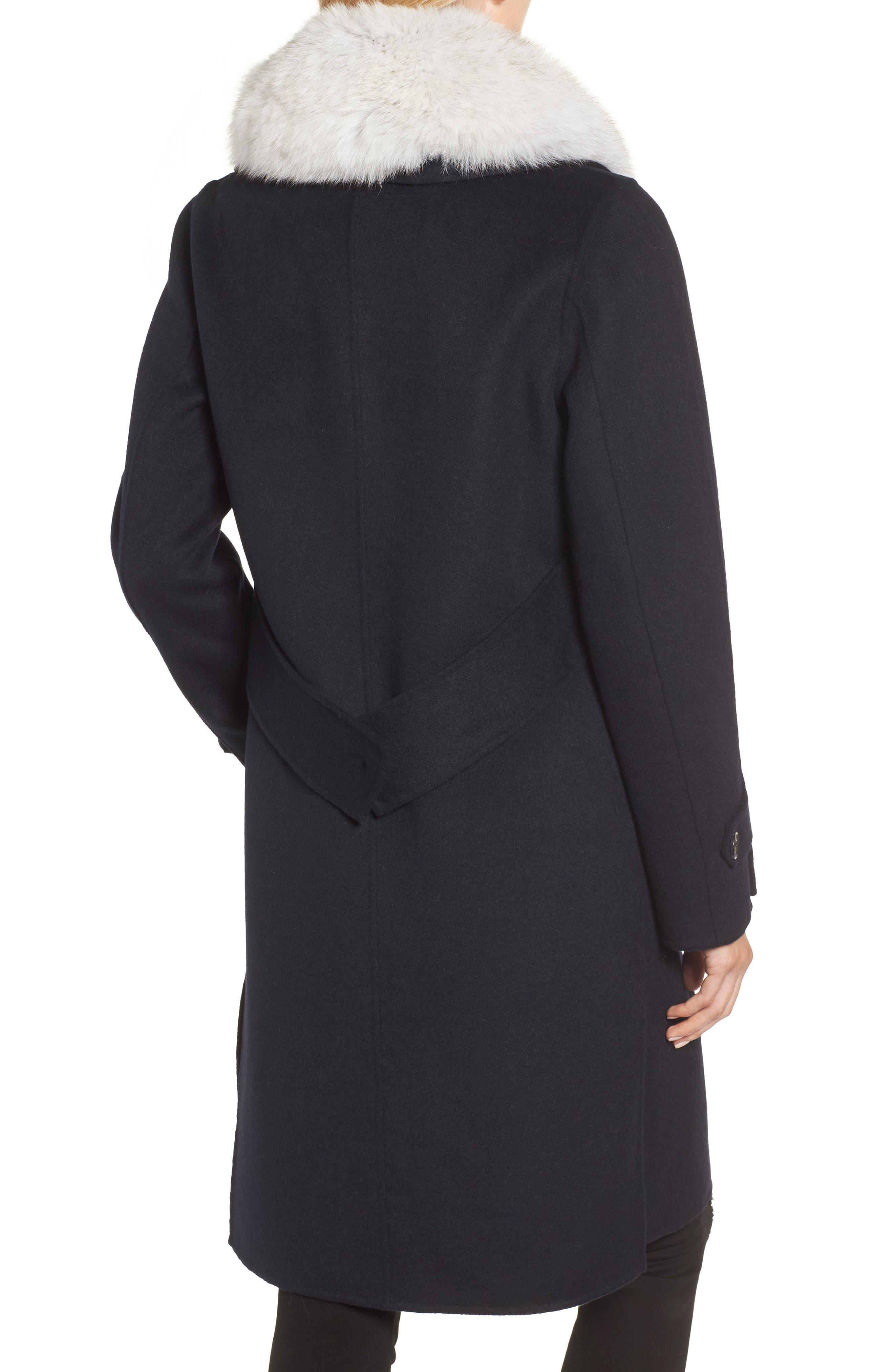 Wool Blend Reefer Coat with Genuine Fox Fur Trim,                             Alternate thumbnail 2, color,                             NAVY