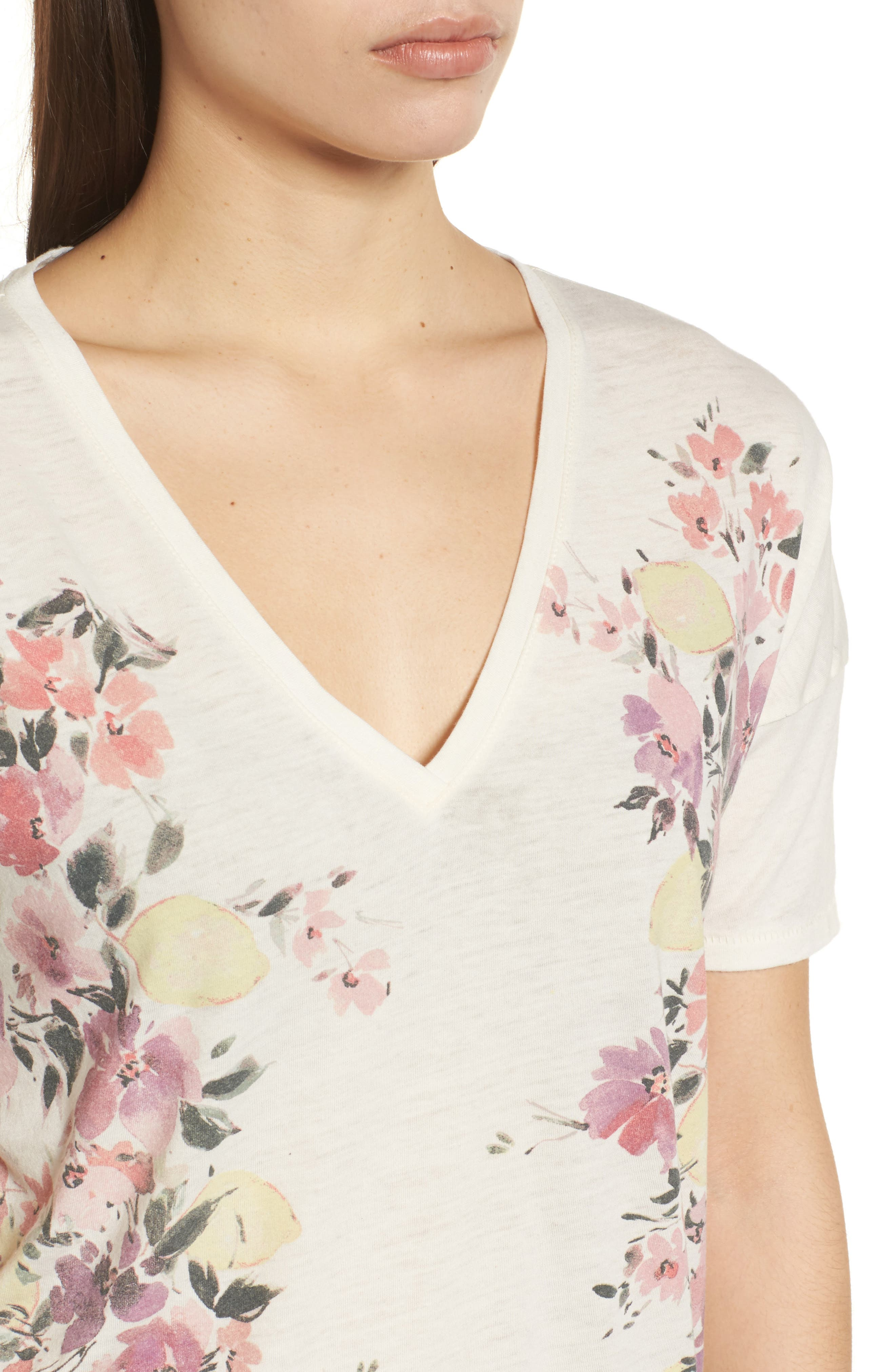 White Floral Tee,                             Alternate thumbnail 4, color,                             900