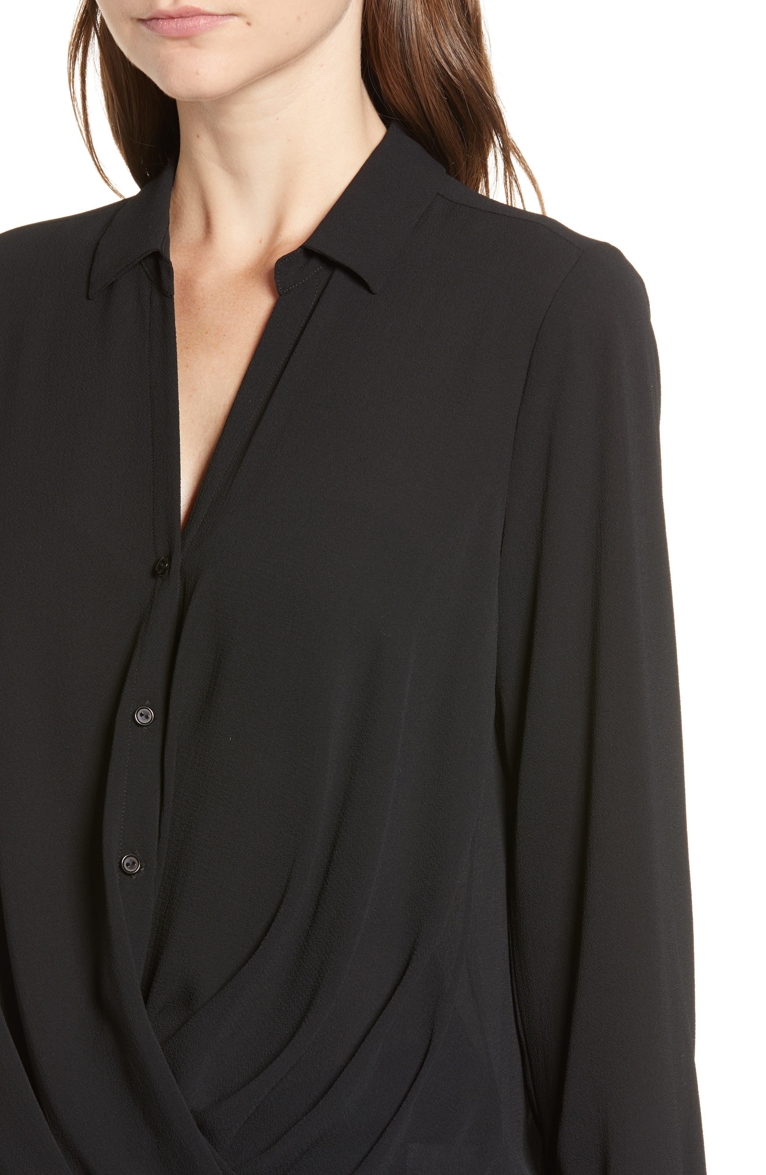 Patterned Drape Front Blouse,                             Alternate thumbnail 4, color,                             BLACK