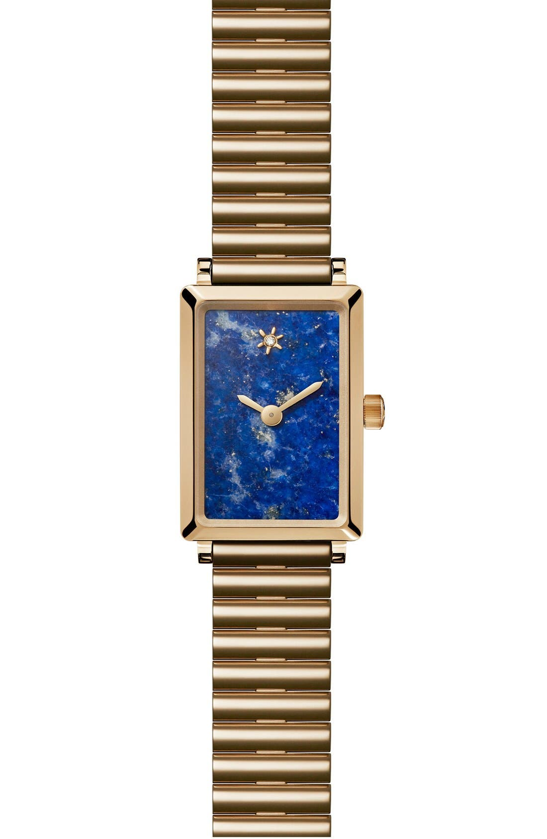 The Shirley Fromer Bracelet Watch, 18mm x 26mm,                             Main thumbnail 1, color,                             GOLD/ LAPIS