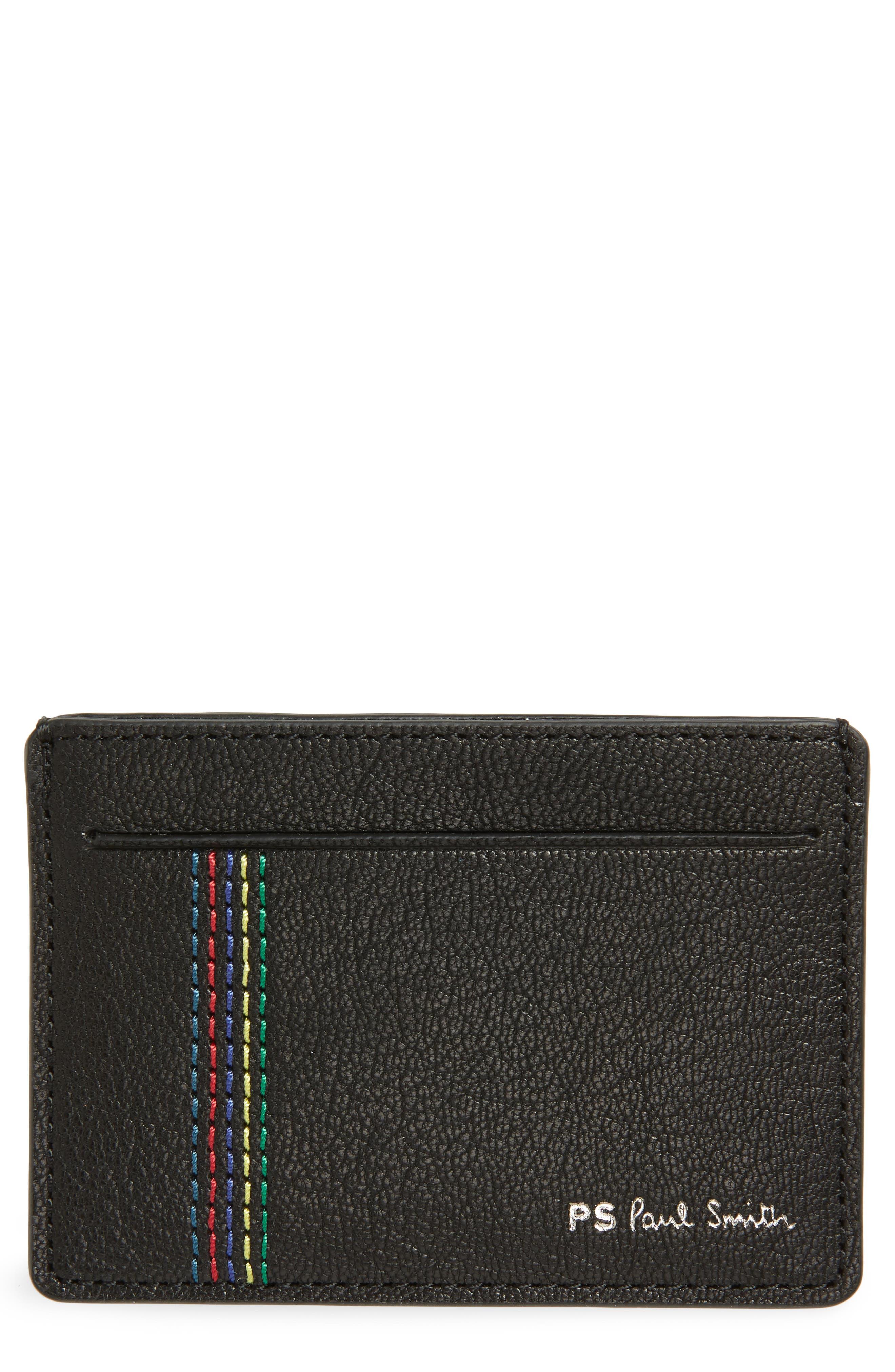 PAUL SMITH Leather Card Case, Main, color, 001