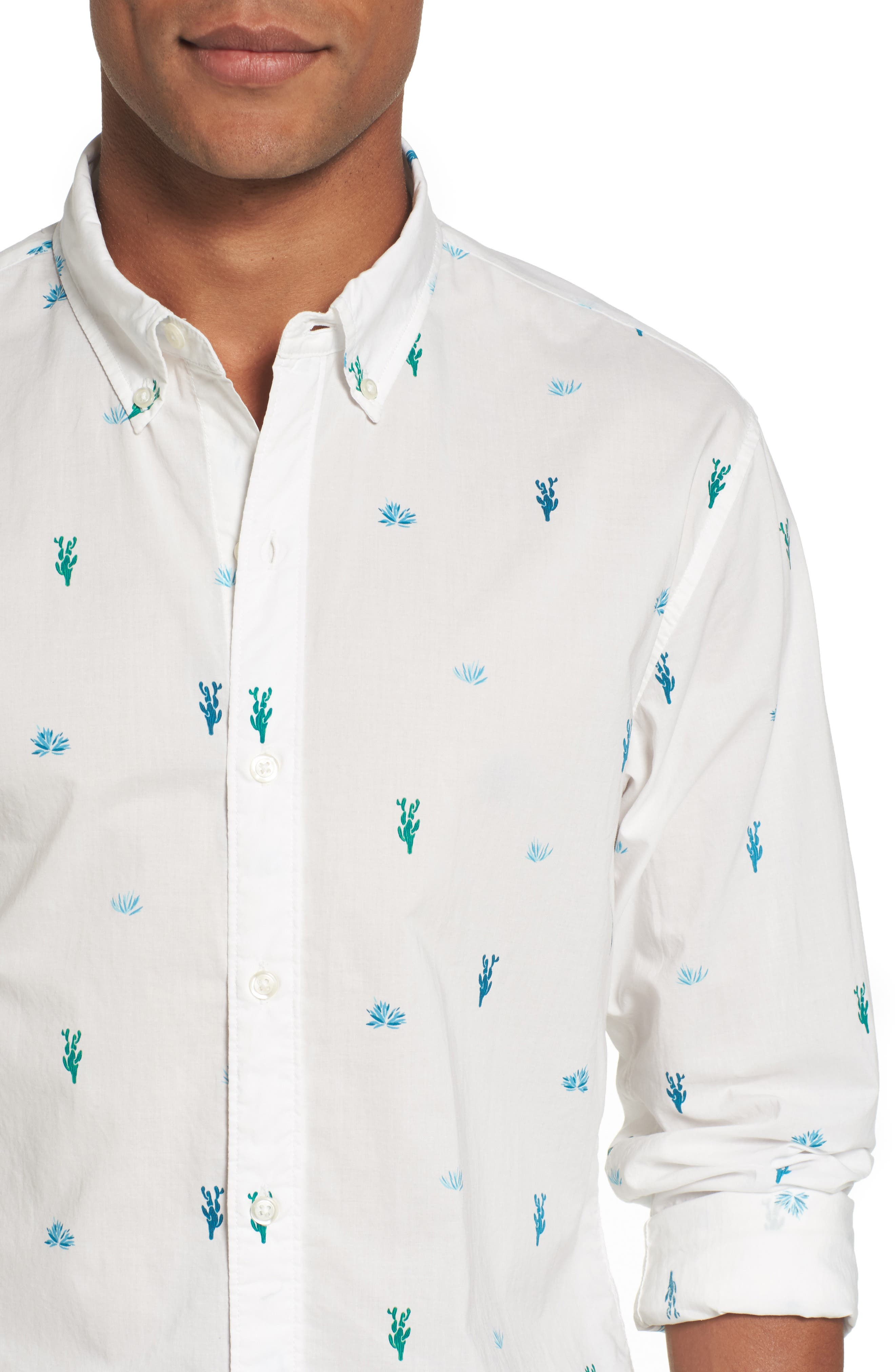 Slim Fit Summerweight Print Sport Shirt,                             Alternate thumbnail 4, color,                             100