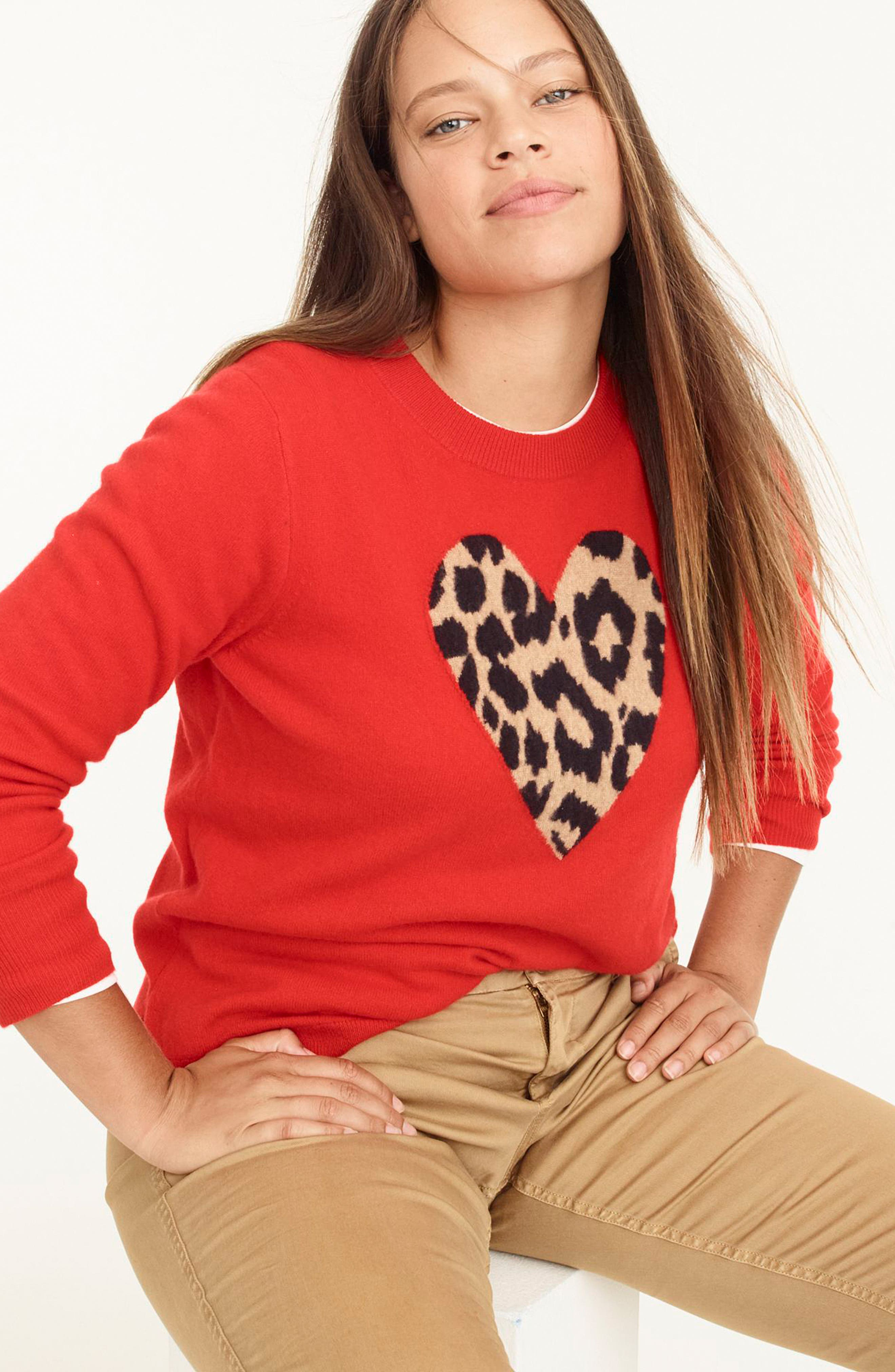 Leopard Heart Everyday Cashmere Sweater,                             Alternate thumbnail 12, color,                             600
