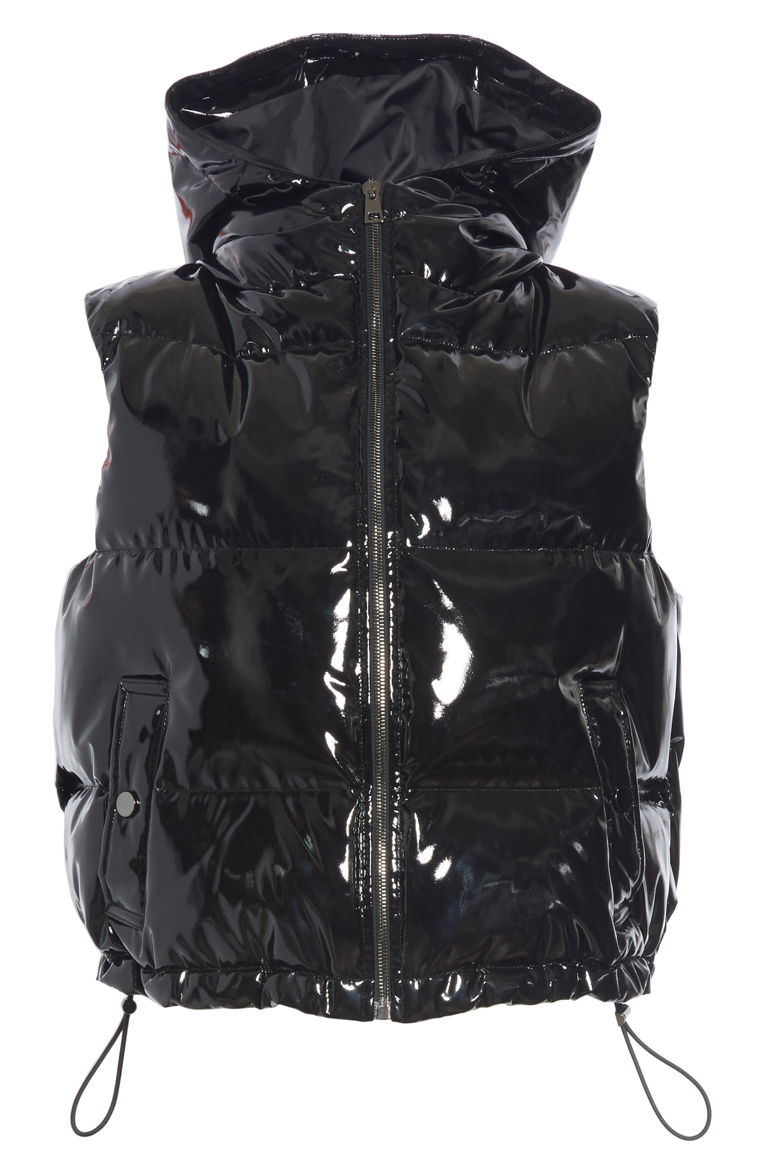 Shrunken Patent Puffer Vest,                             Alternate thumbnail 6, color,                             BLACK