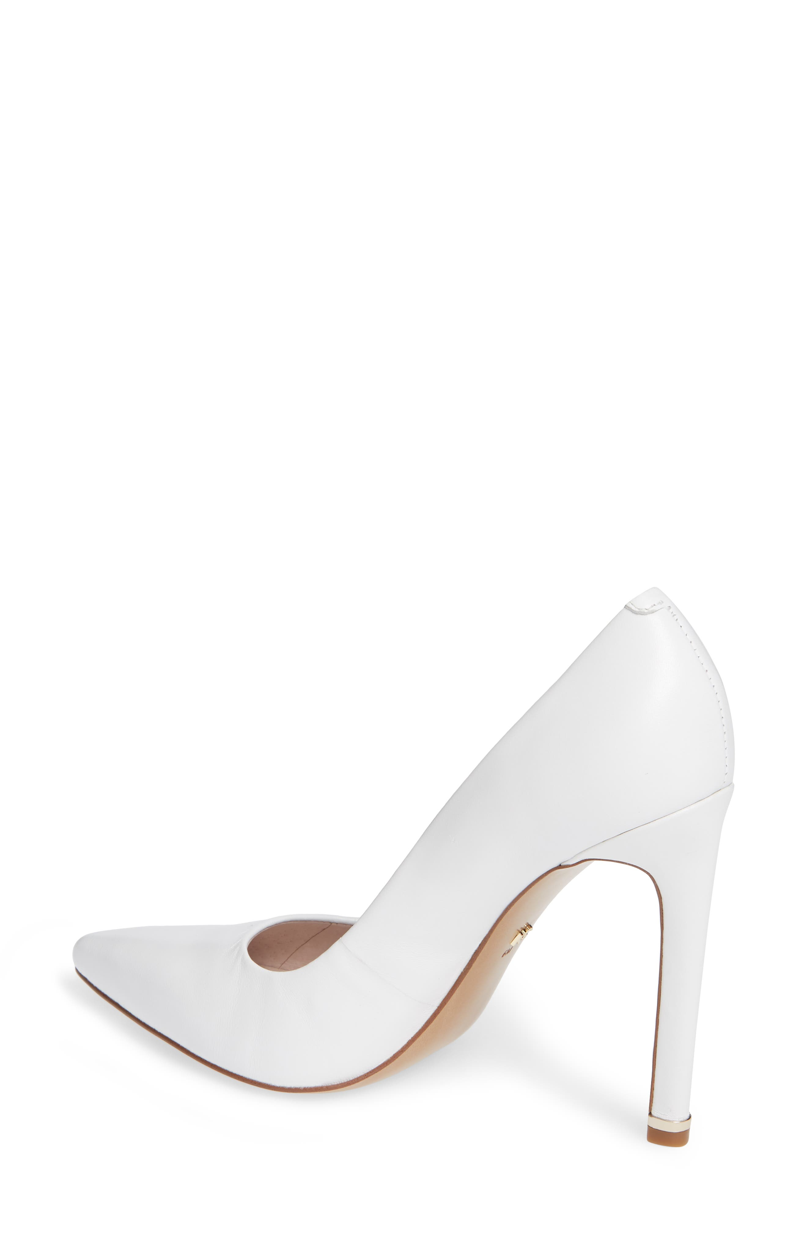 Riley 110 Pointy Toe Pump,                             Alternate thumbnail 2, color,                             WHITE LEATHER