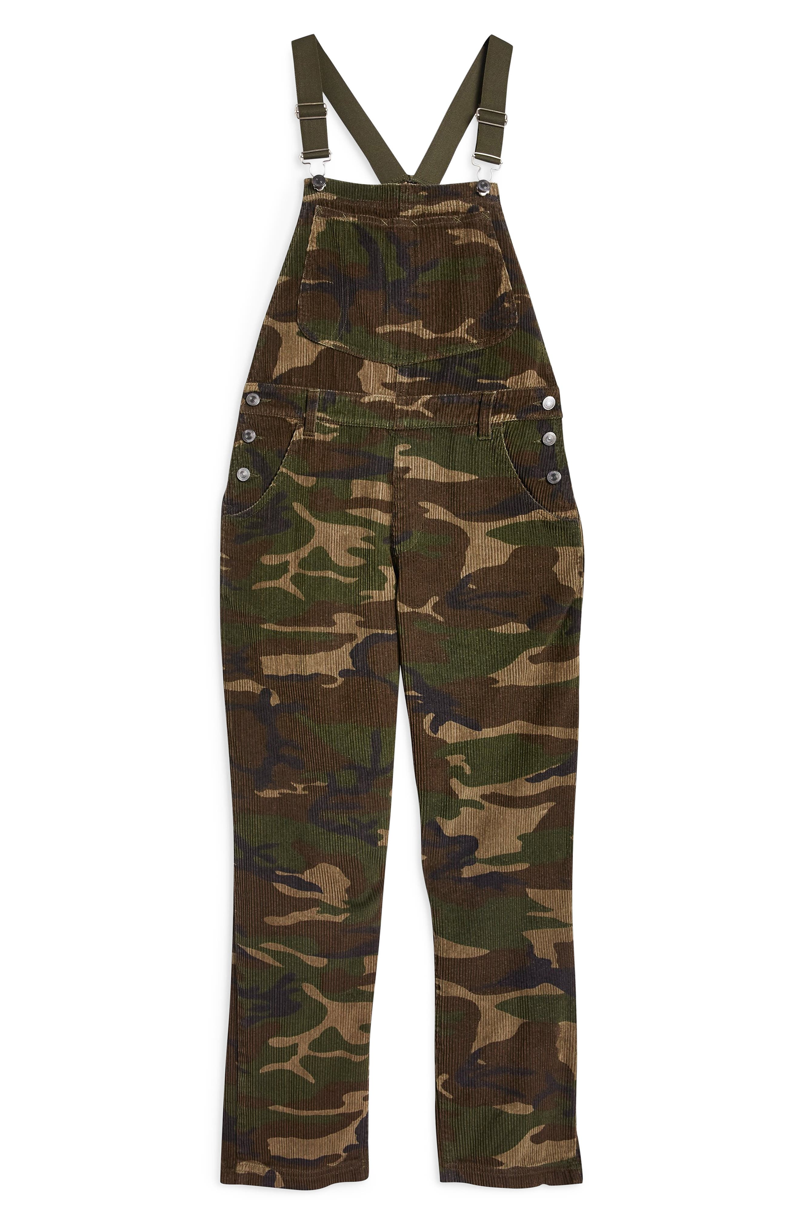 Camouflage Corduroy Overalls,                             Alternate thumbnail 4, color,                             OLIVE MULTI