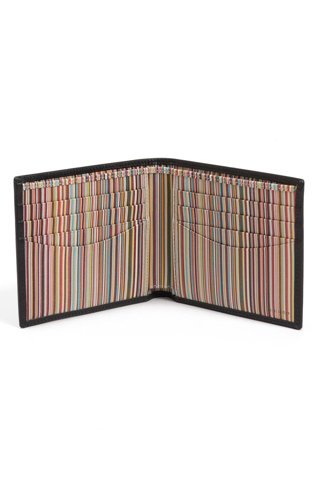 Interior Stripe Leather Billfold,                             Alternate thumbnail 3, color,                             001