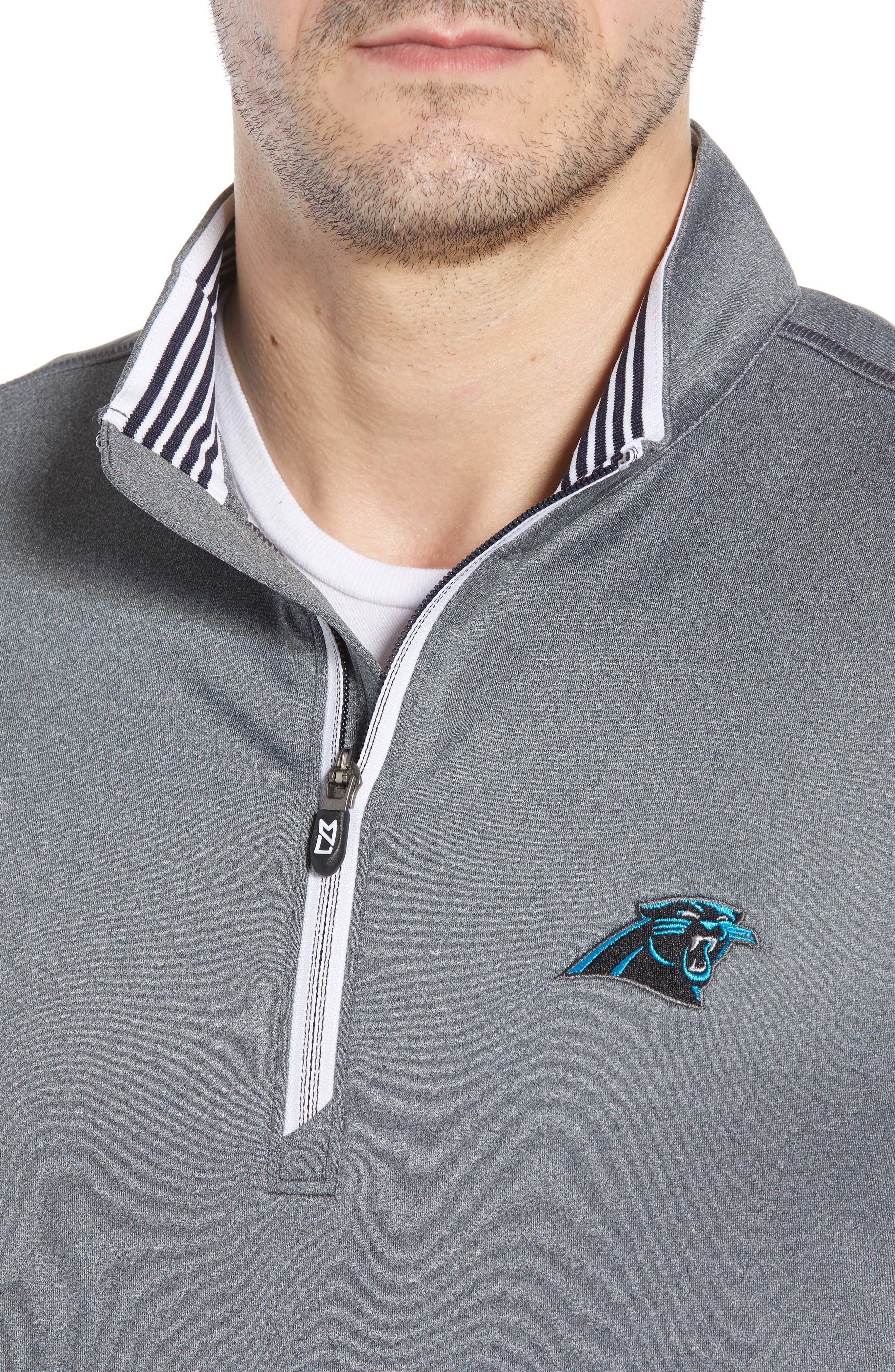 Endurance Carolina Panthers Regular Fit Pullover,                             Alternate thumbnail 4, color,                             CHARCOAL HEATHER