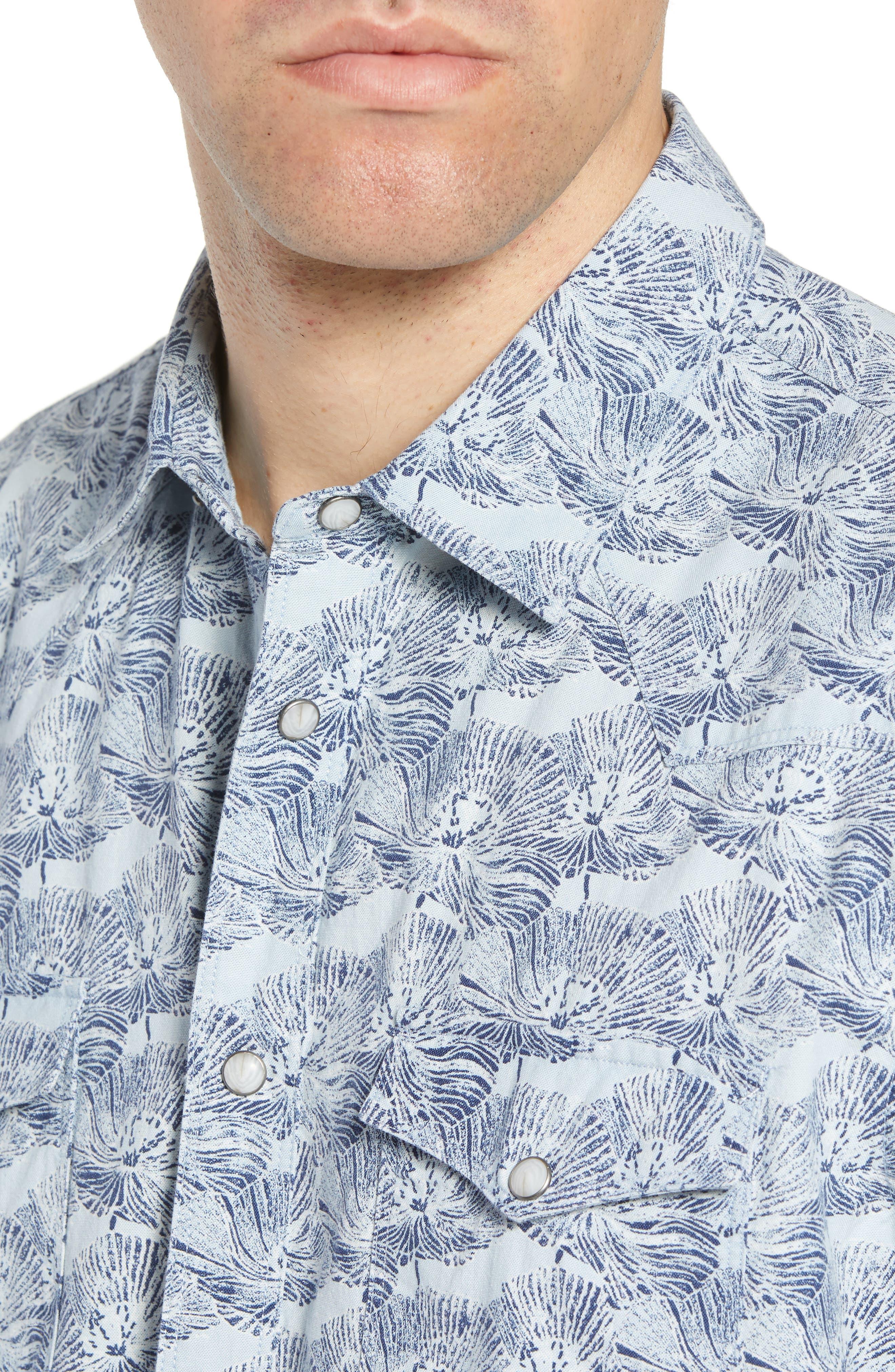 Zumas Vaquero Regular Fit Floral Sport Shirt,                             Alternate thumbnail 4, color,                             INDIGO