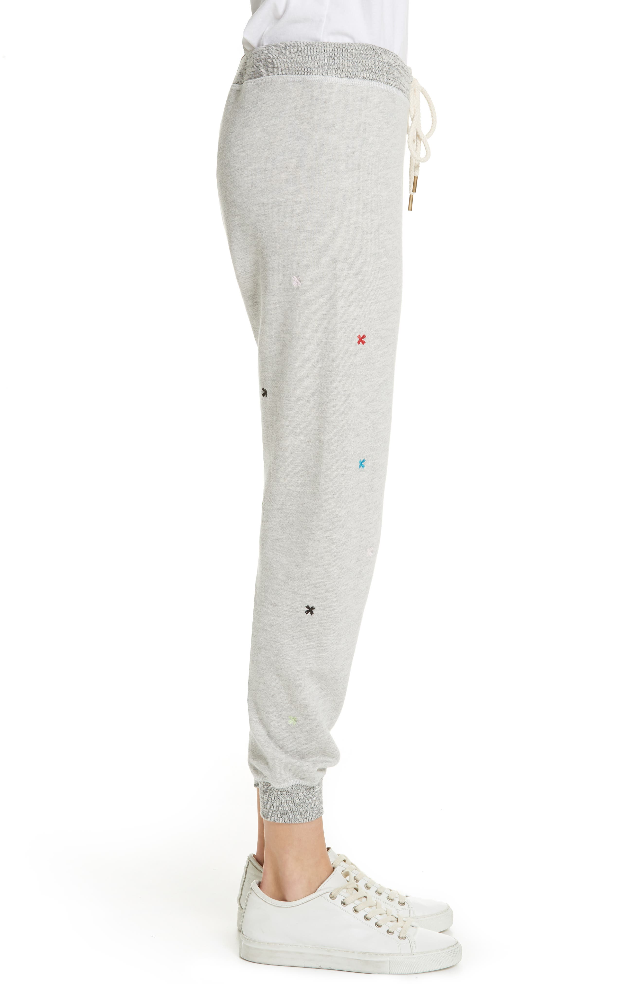 The Cropped Sweatpants,                             Alternate thumbnail 3, color,                             HEATHER GREY/ MULTI