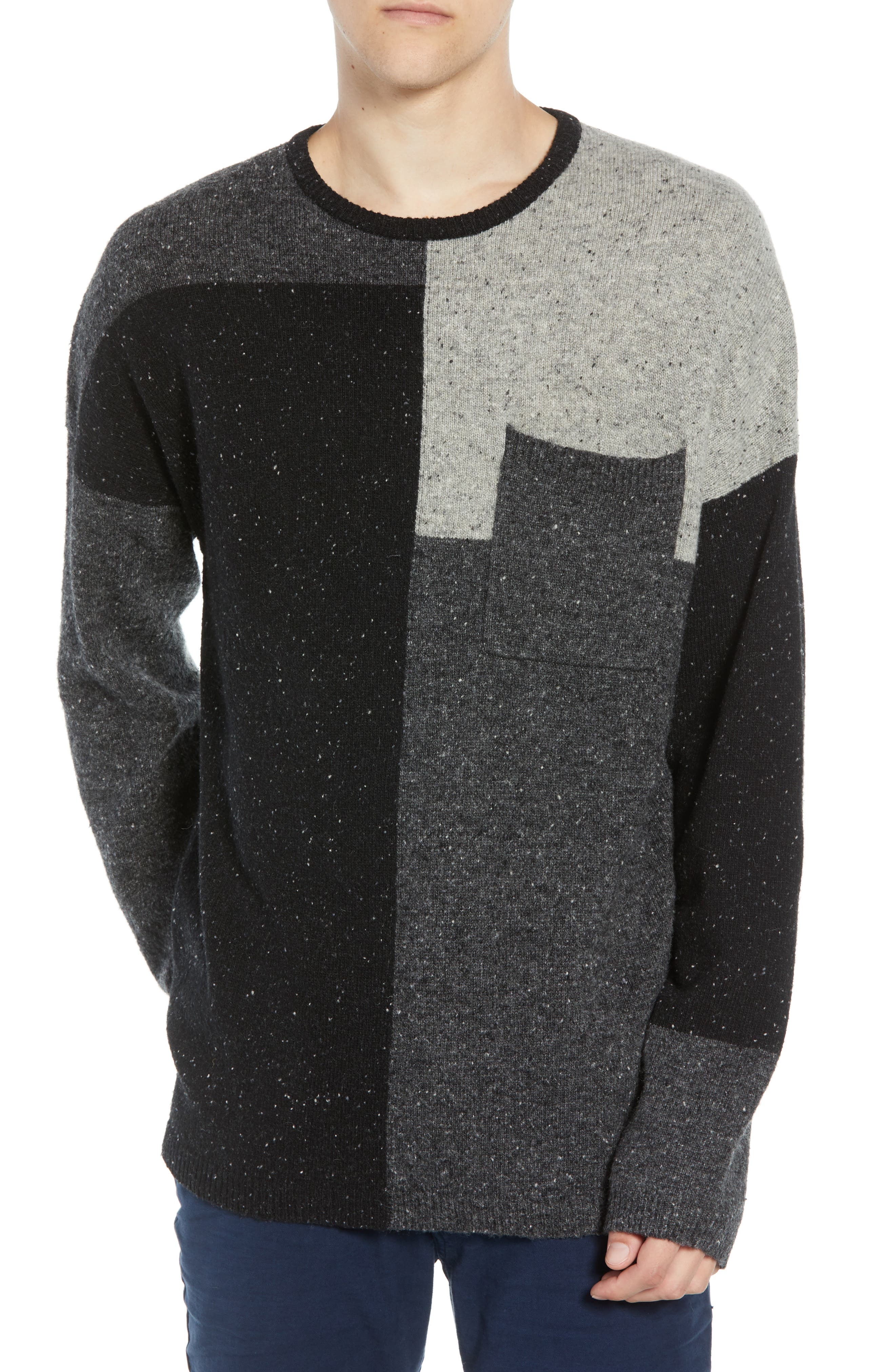 Patchwork Donegal Wool Blend Sweater,                             Main thumbnail 1, color,                             LIGHT GREY MELANGE CHARCOAL