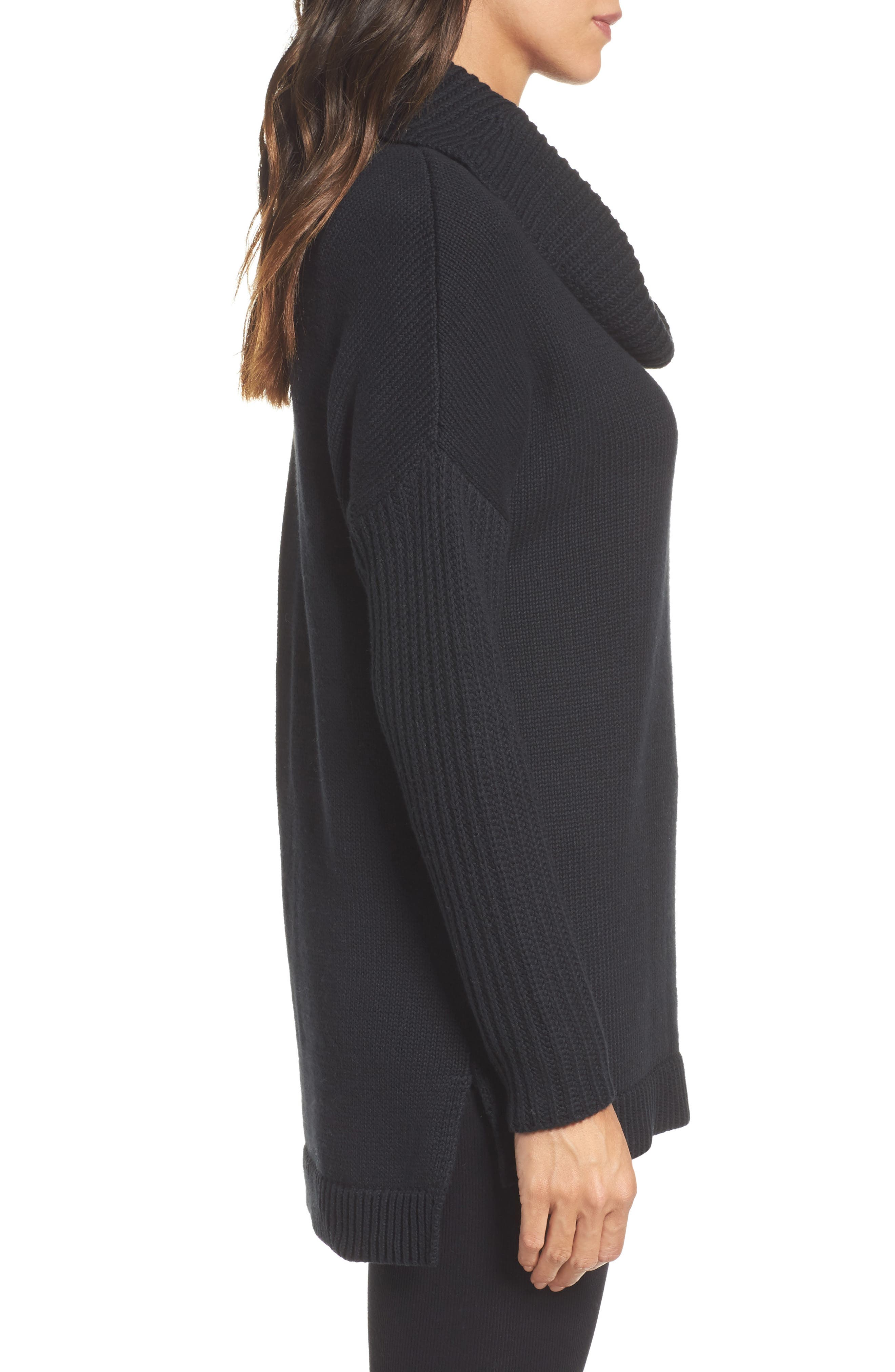 Cowl Neck Tunic Sweater,                             Alternate thumbnail 3, color,                             001