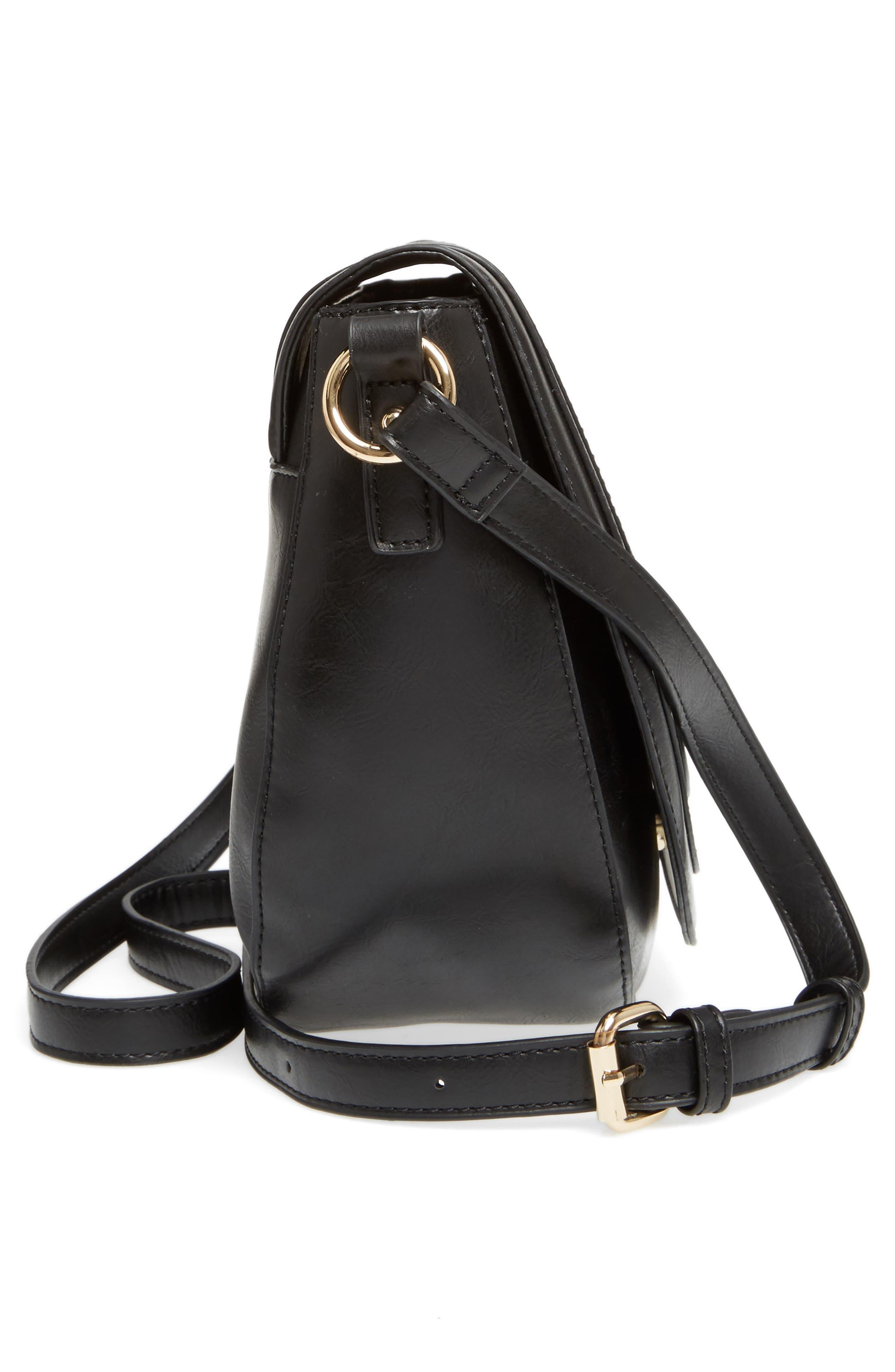 Piri Faux Leather Saddle Bag,                             Alternate thumbnail 5, color,                             001