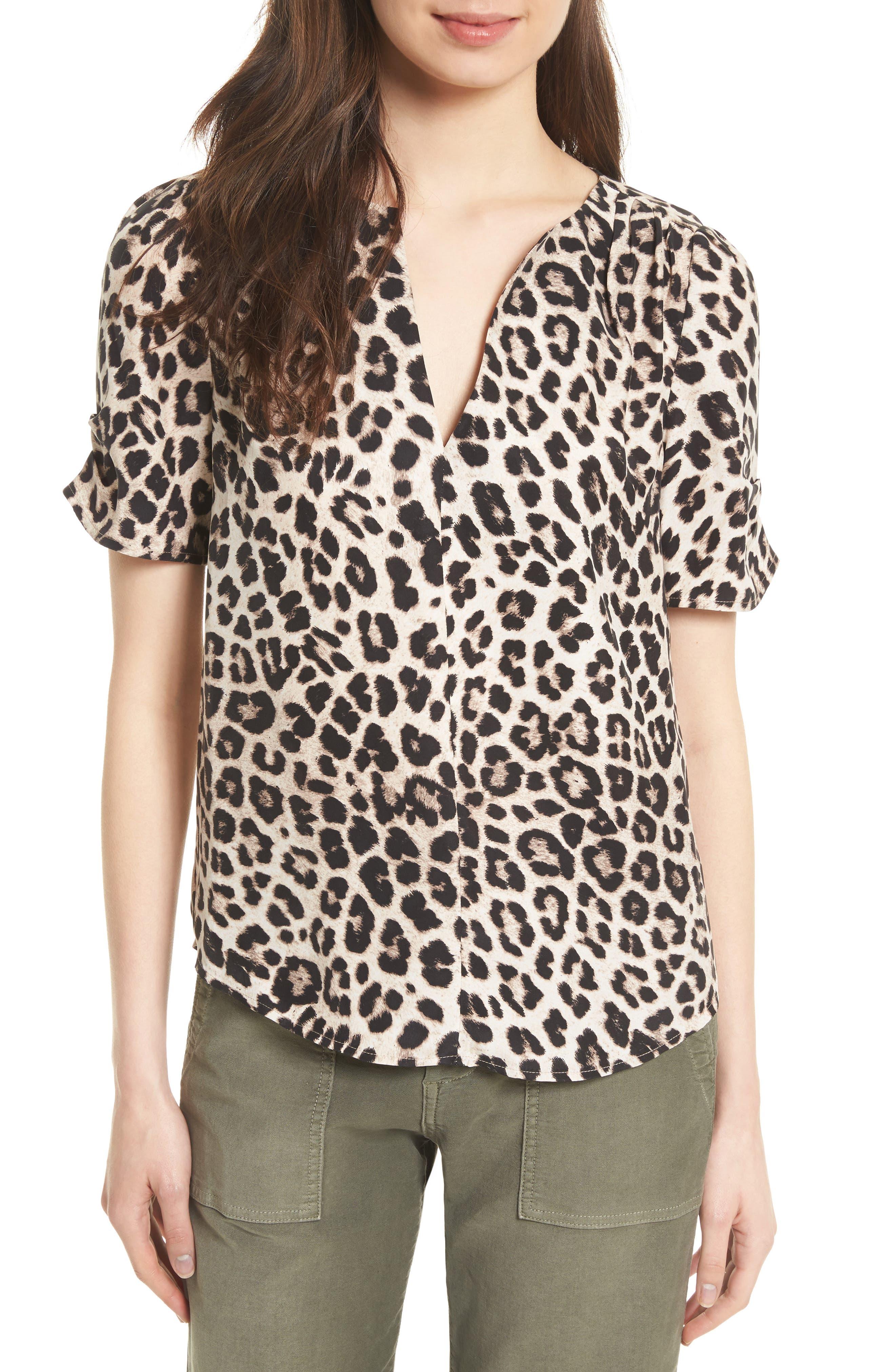 Amone Leopard Print Silk Top,                         Main,                         color,