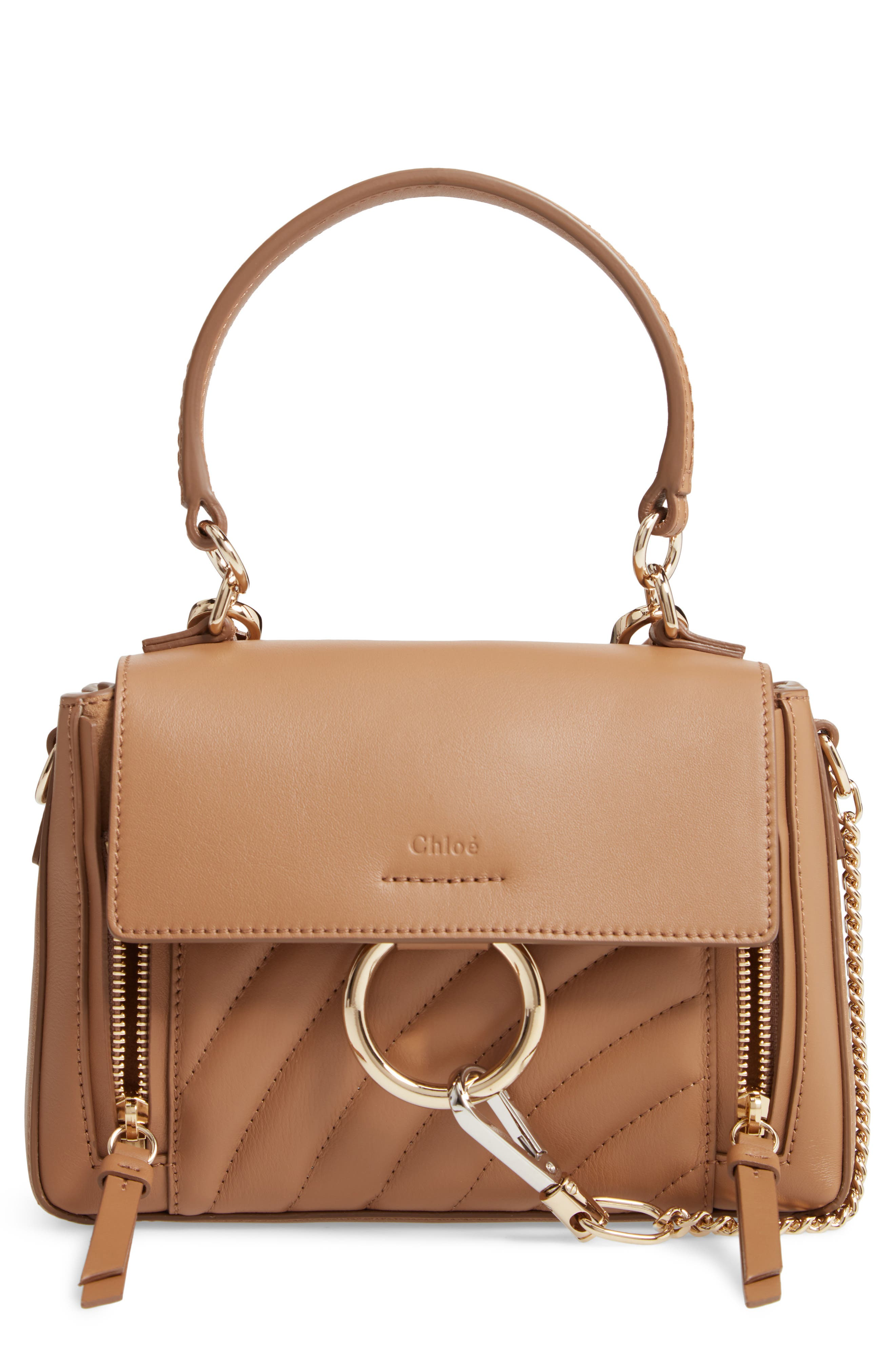 Mini Faye Day Leather Satchel,                         Main,                         color, NUT