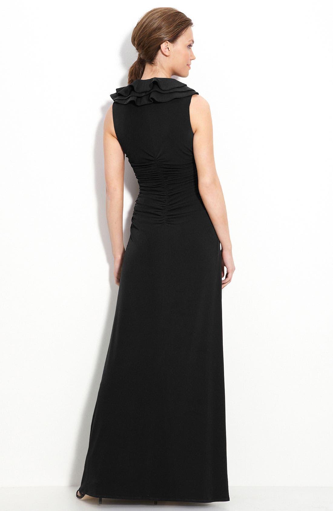 Ruffle Trim Jersey Dress,                             Alternate thumbnail 2, color,                             001