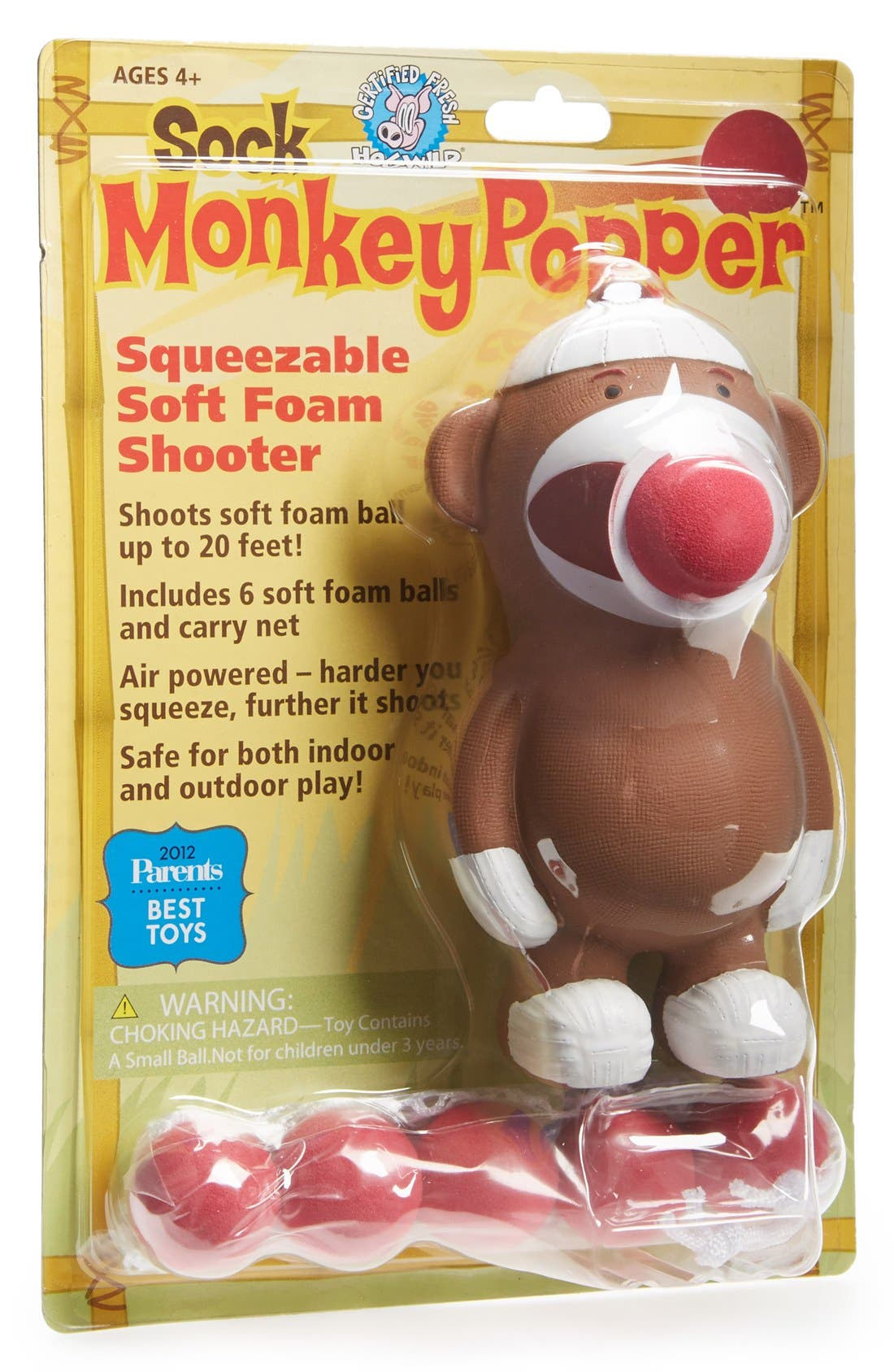 HOG WILD TOYS,                             'Sock Monkey Popper' Toy,                             Alternate thumbnail 4, color,                             960
