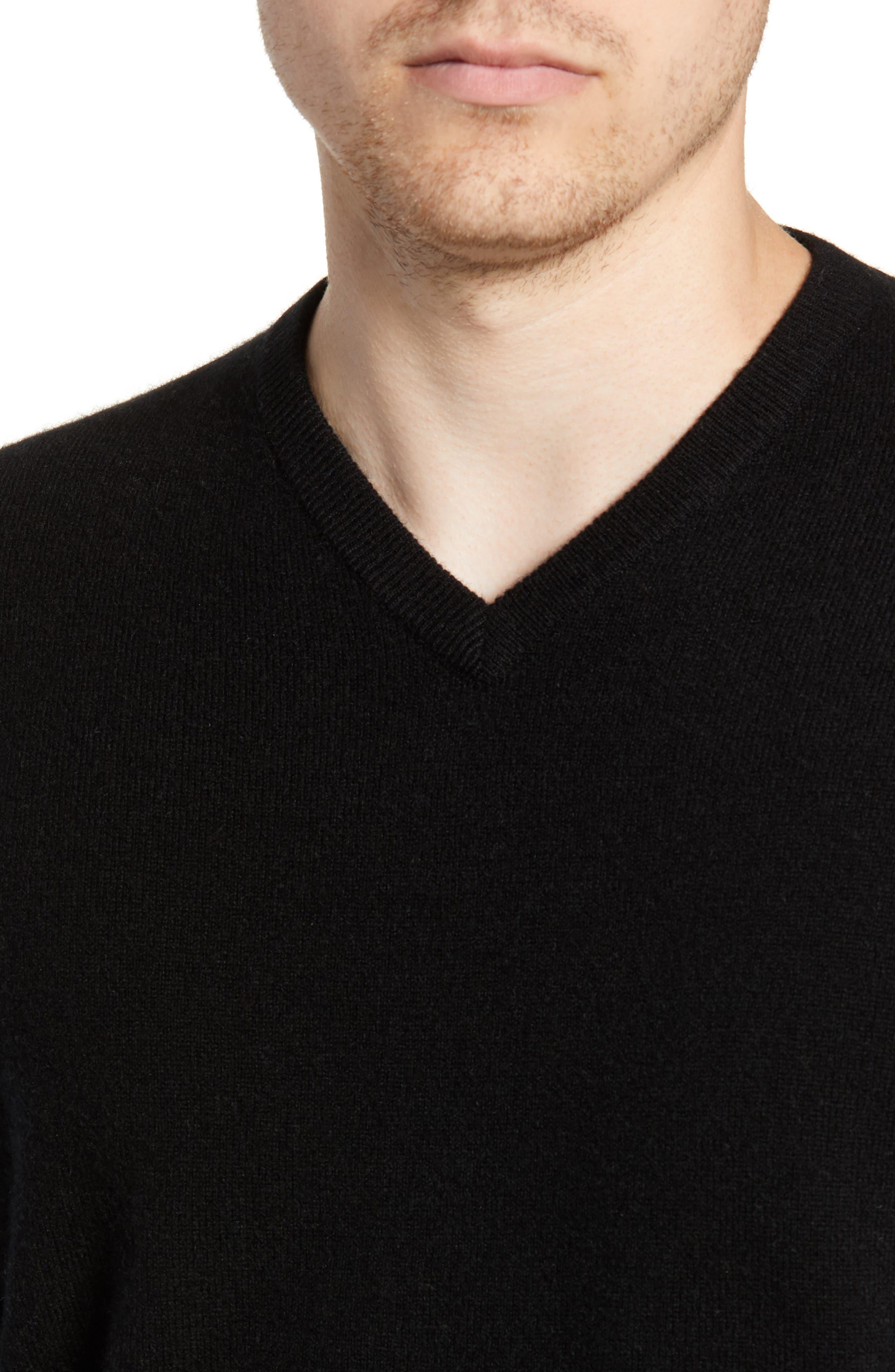 Cashmere V-Neck Sweater,                             Alternate thumbnail 4, color,                             BLACK CAVIAR