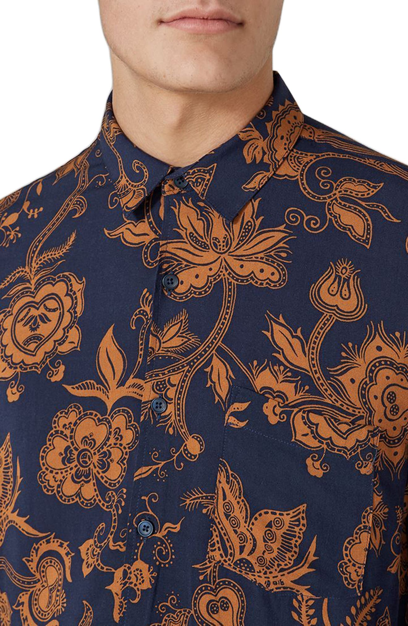 Classic Fit Floral Print Shirt,                             Alternate thumbnail 3, color,