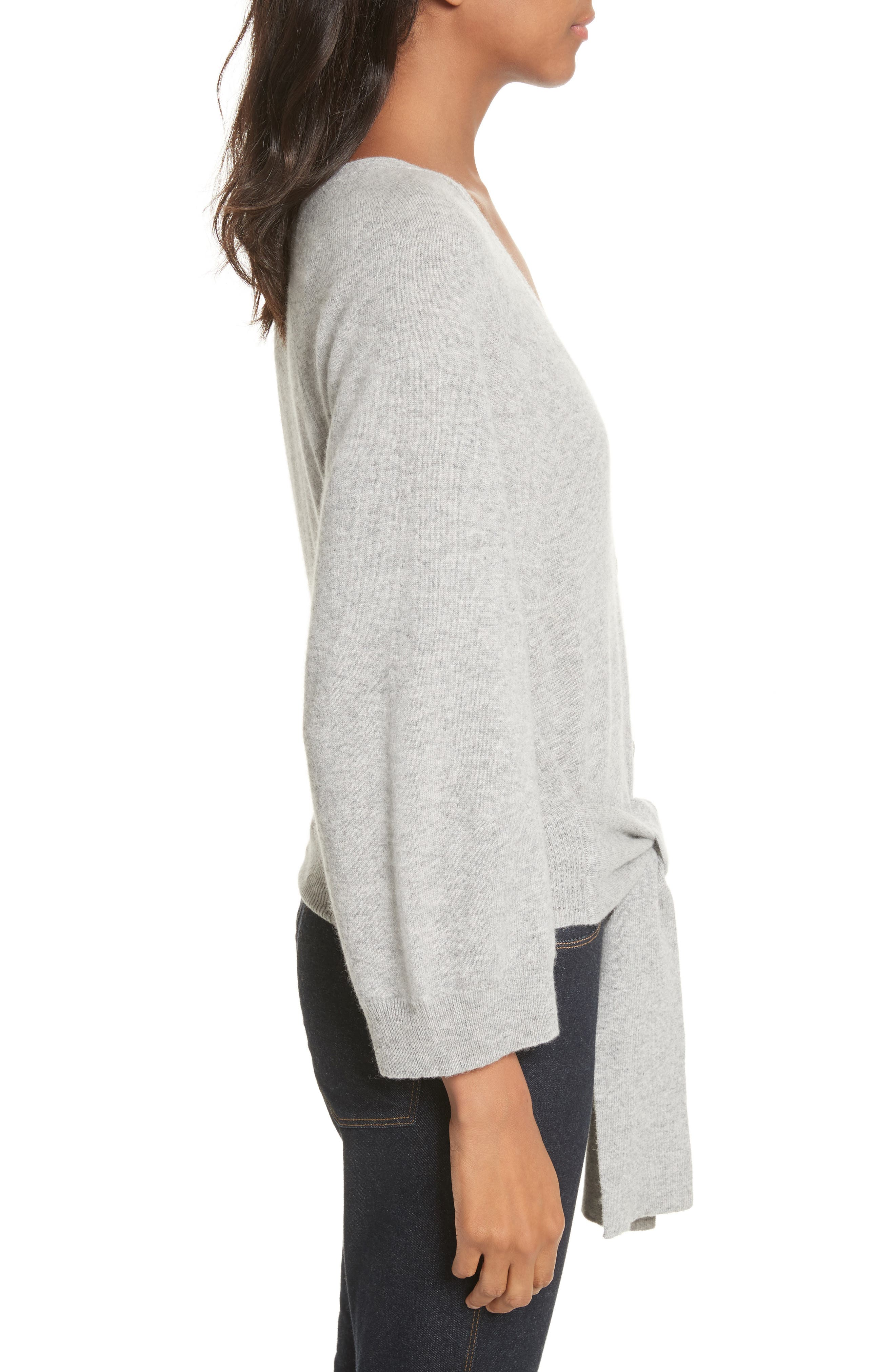 Wide Sleeve Tie Front Button Cardigan,                             Alternate thumbnail 3, color,                             050