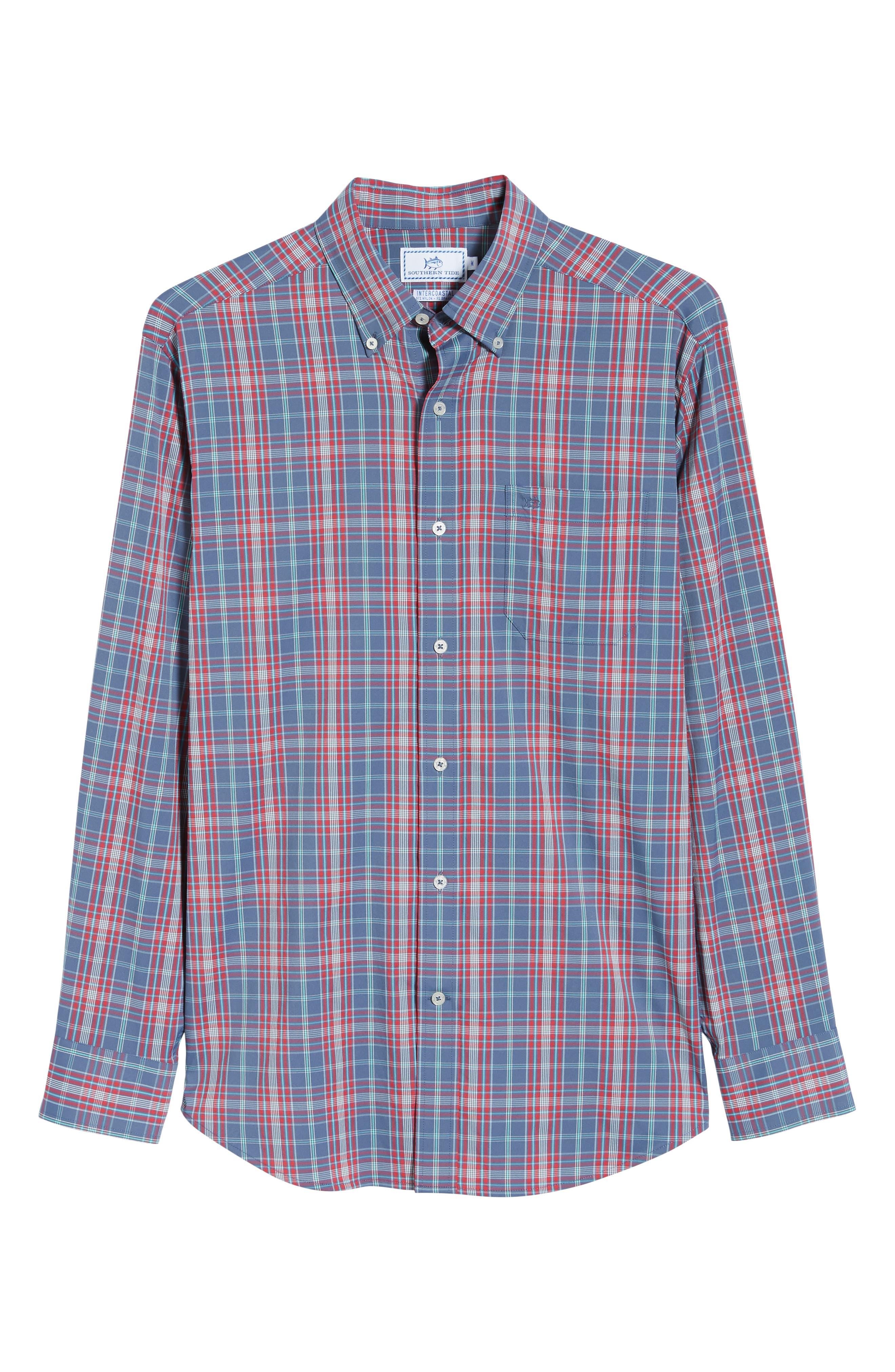 Lodge Intercoastal Regular Fit Plaid Performance Sport Shirt,                             Alternate thumbnail 5, color,                             LIGHT INDIGO