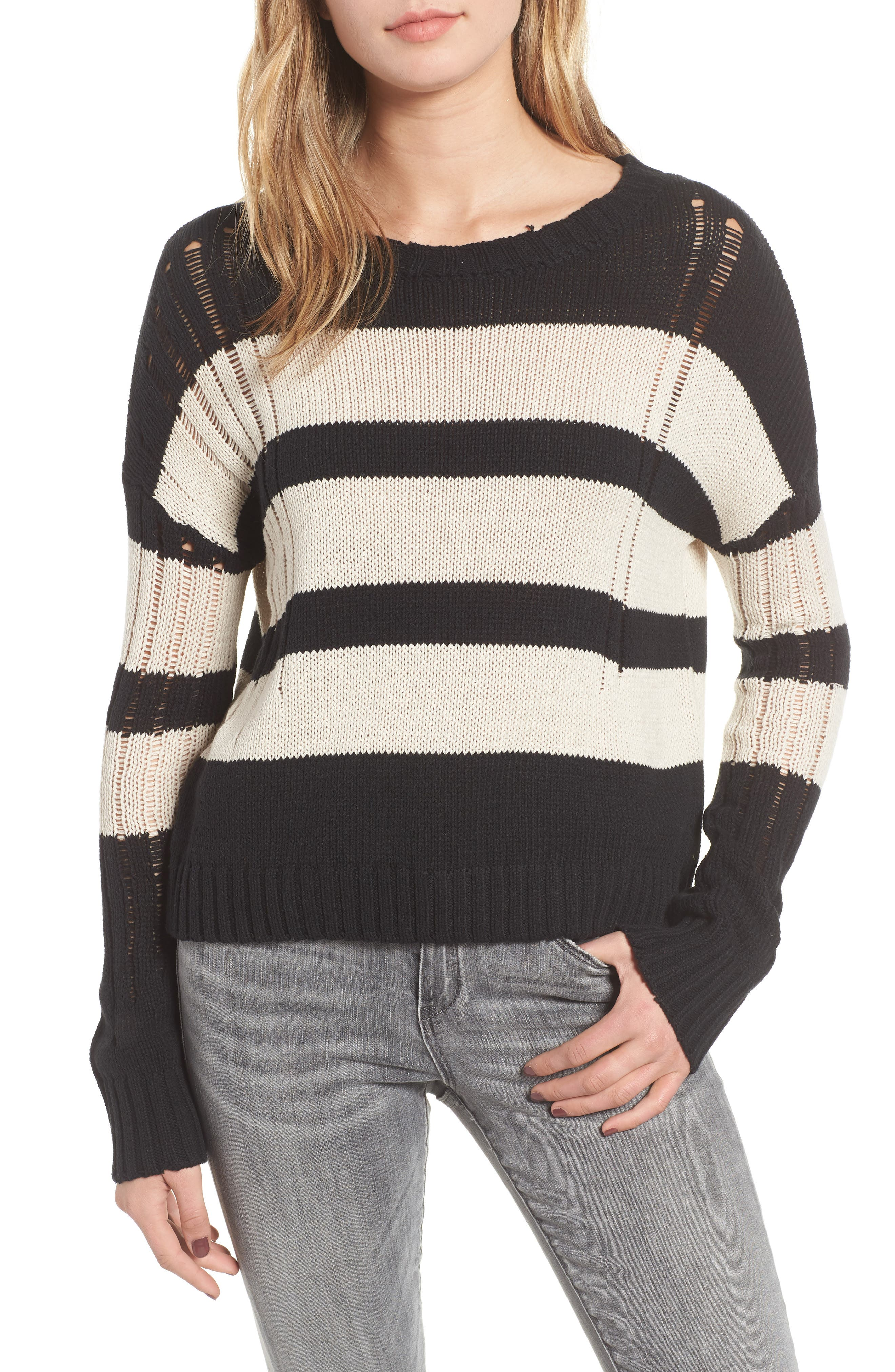 Tia Sweater,                         Main,                         color, BLACK TAN STRIPE