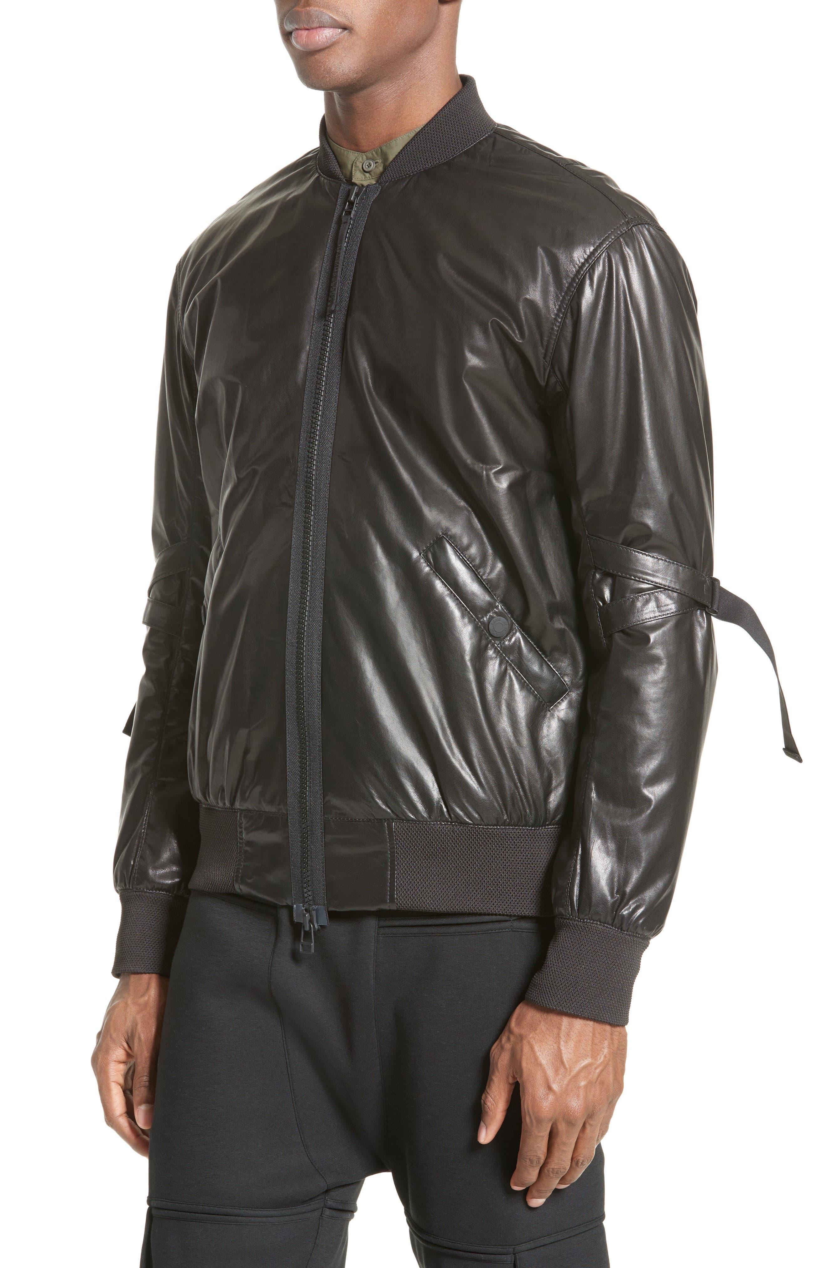 Leather Bomber Jacket,                             Alternate thumbnail 4, color,                             BLACK
