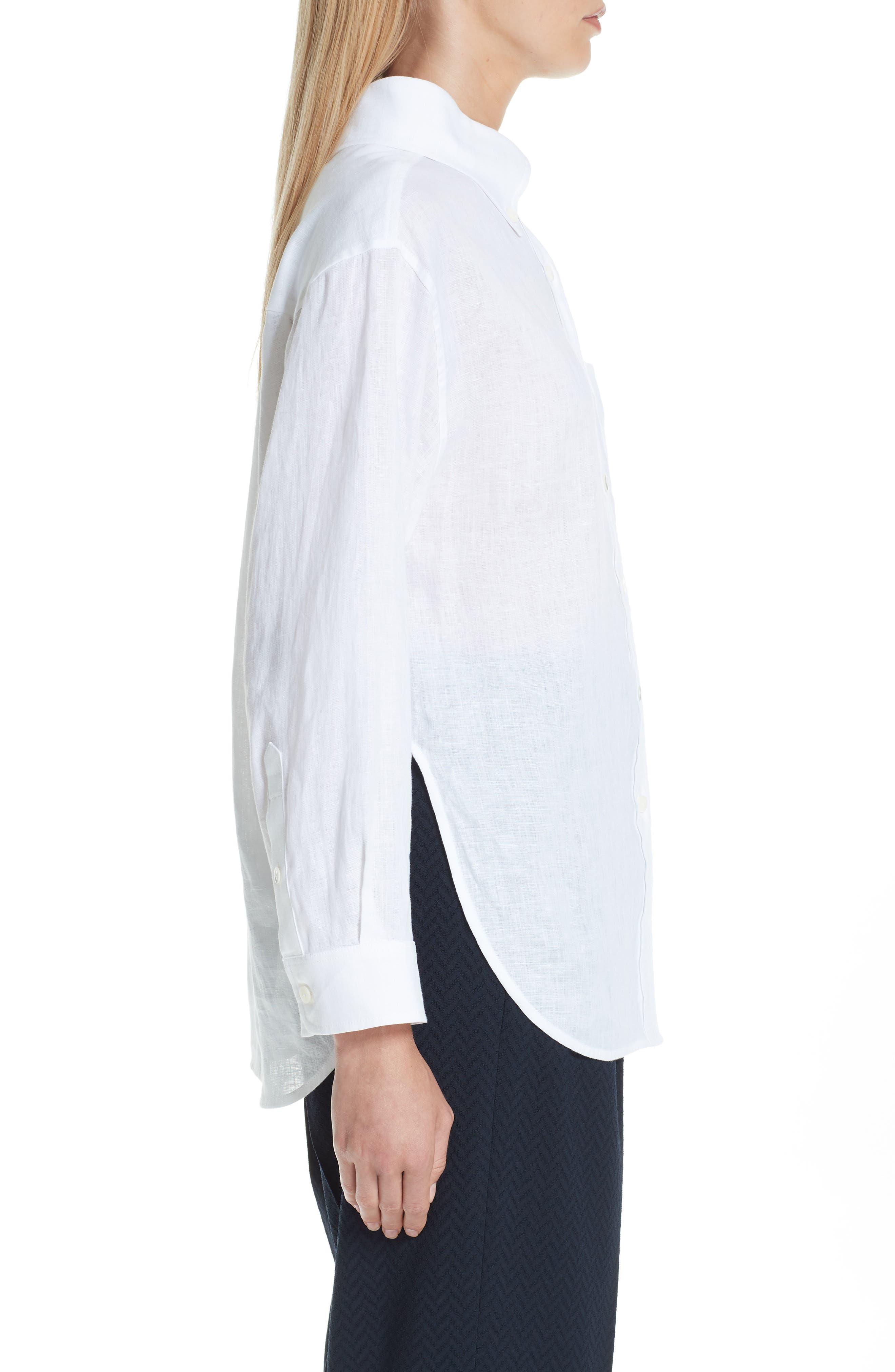 EMPORIO ARMANI,                             Long Sleeve Linen Blouse,                             Alternate thumbnail 3, color,                             BIANCO