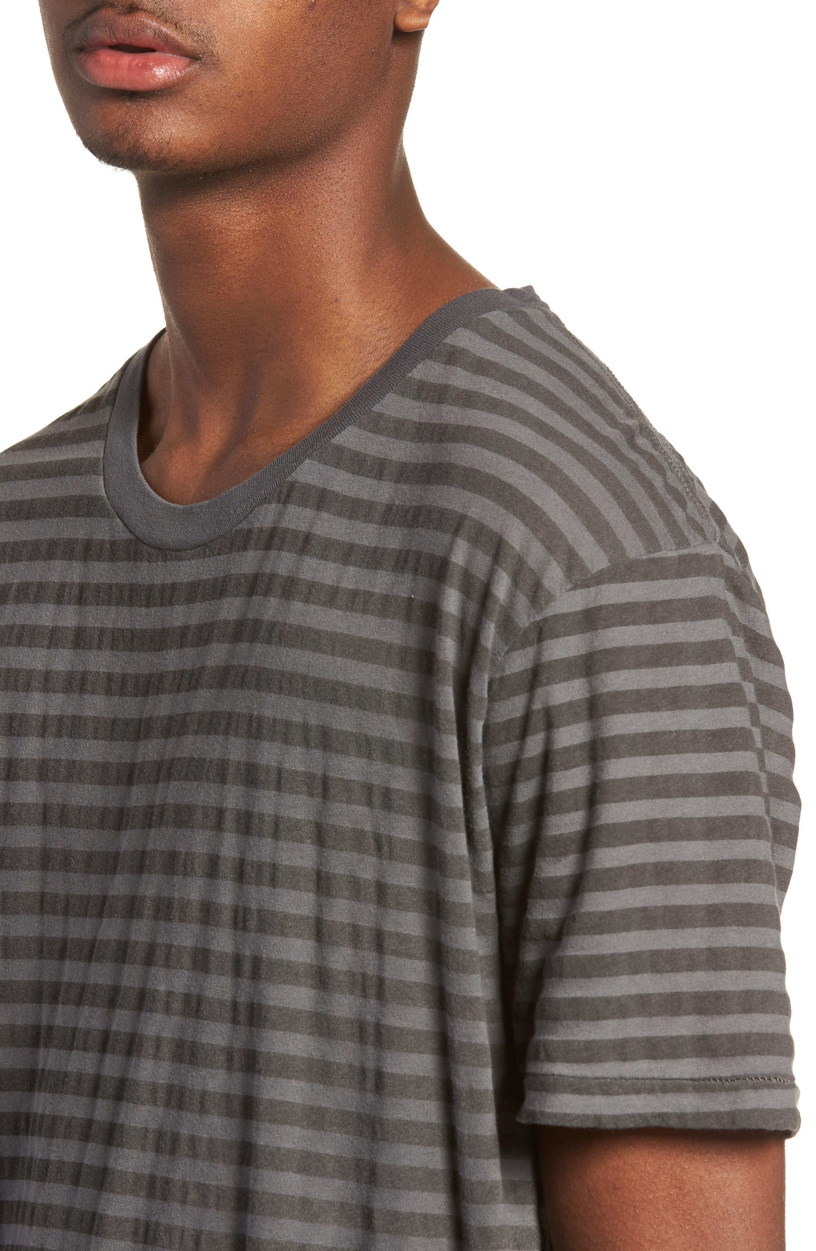 1CM Stripe T-Shirt,                             Alternate thumbnail 4, color,                             KHAKI/ BLACK STRIPE