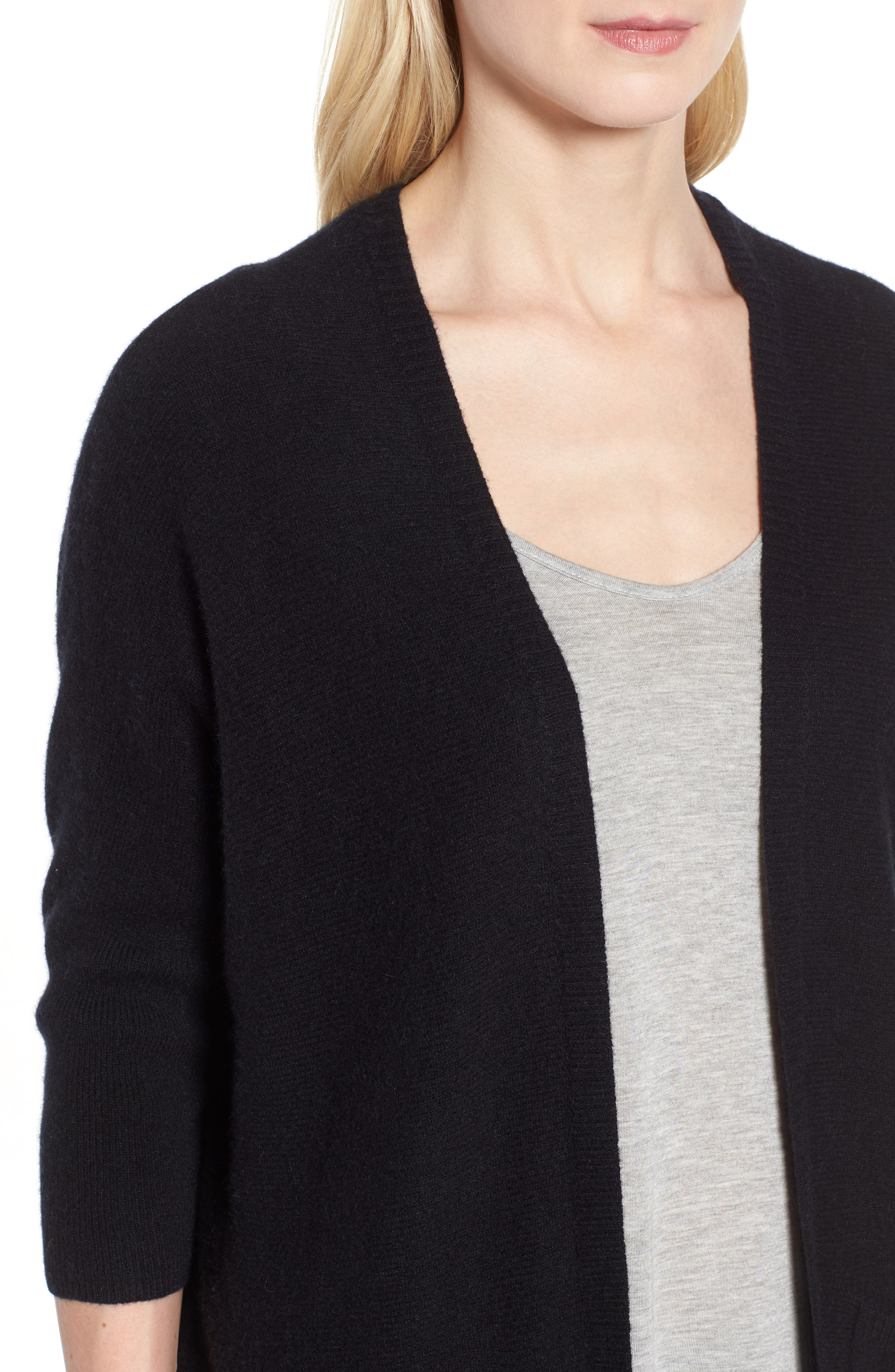 Cashmere Cardigan,                             Alternate thumbnail 4, color,                             BLACK