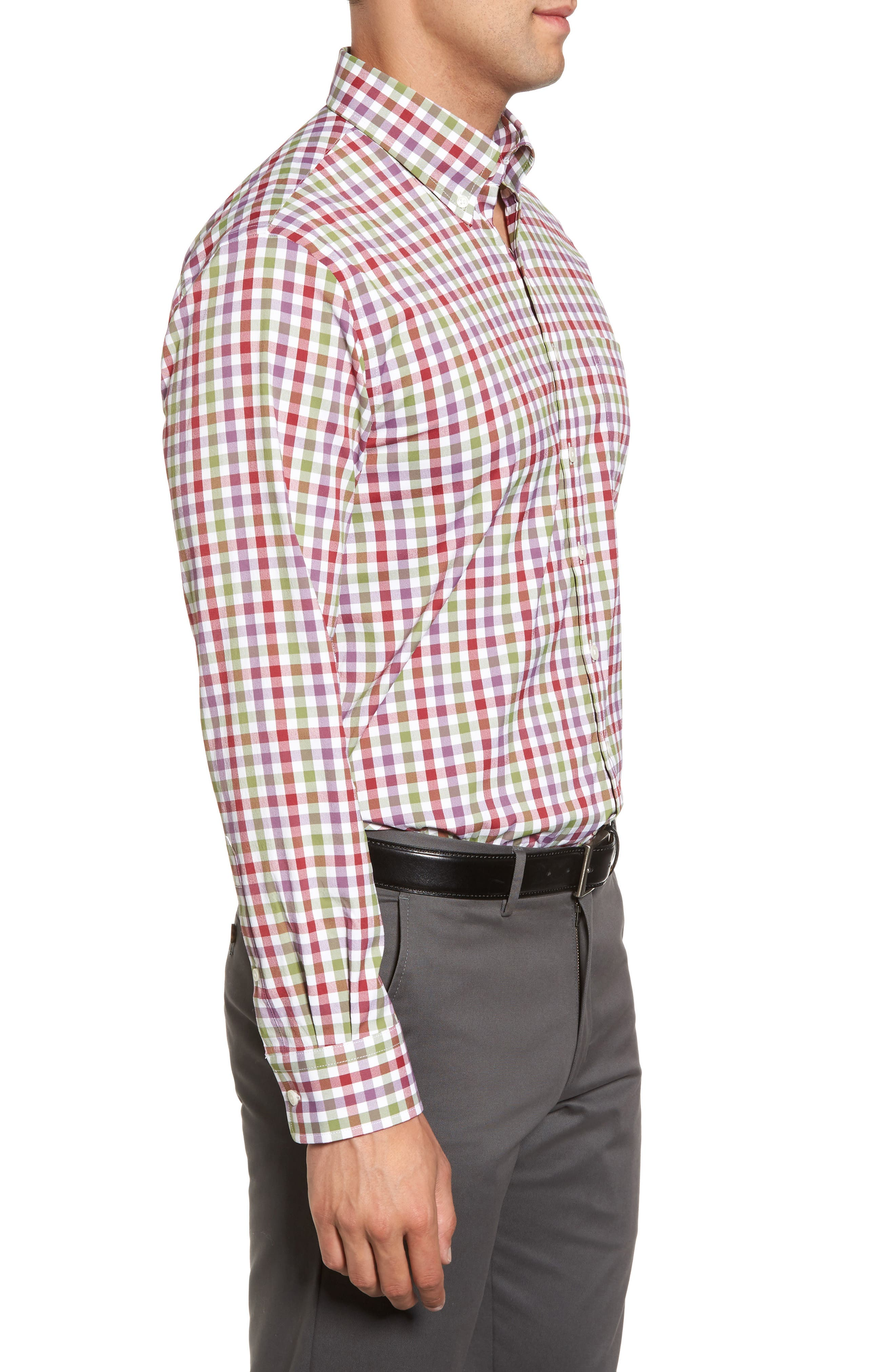 Autumn Check Easy Care Sport Shirt,                             Alternate thumbnail 3, color,