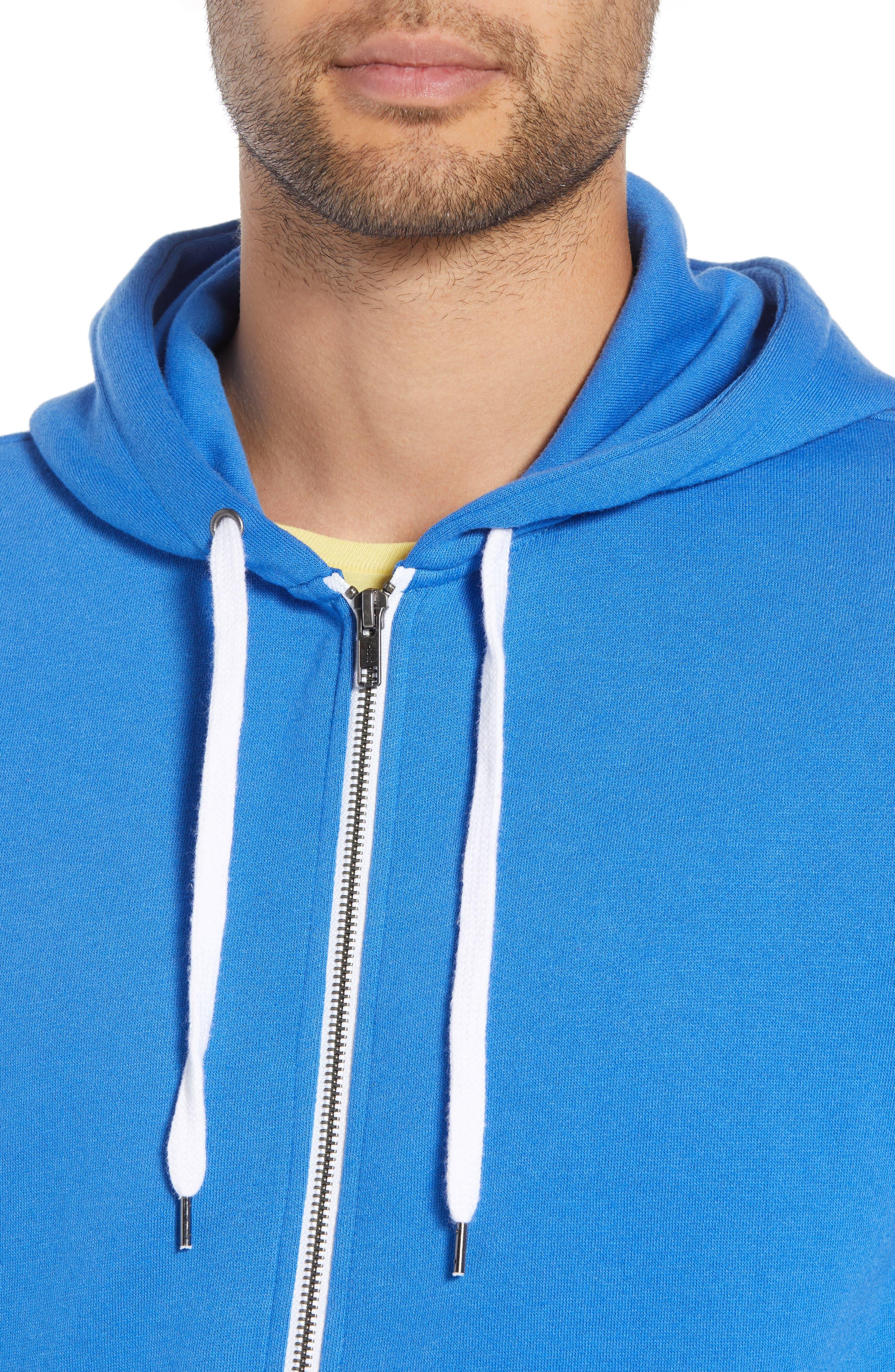 Full Zip Hoodie,                             Alternate thumbnail 4, color,                             BLUE BLISS