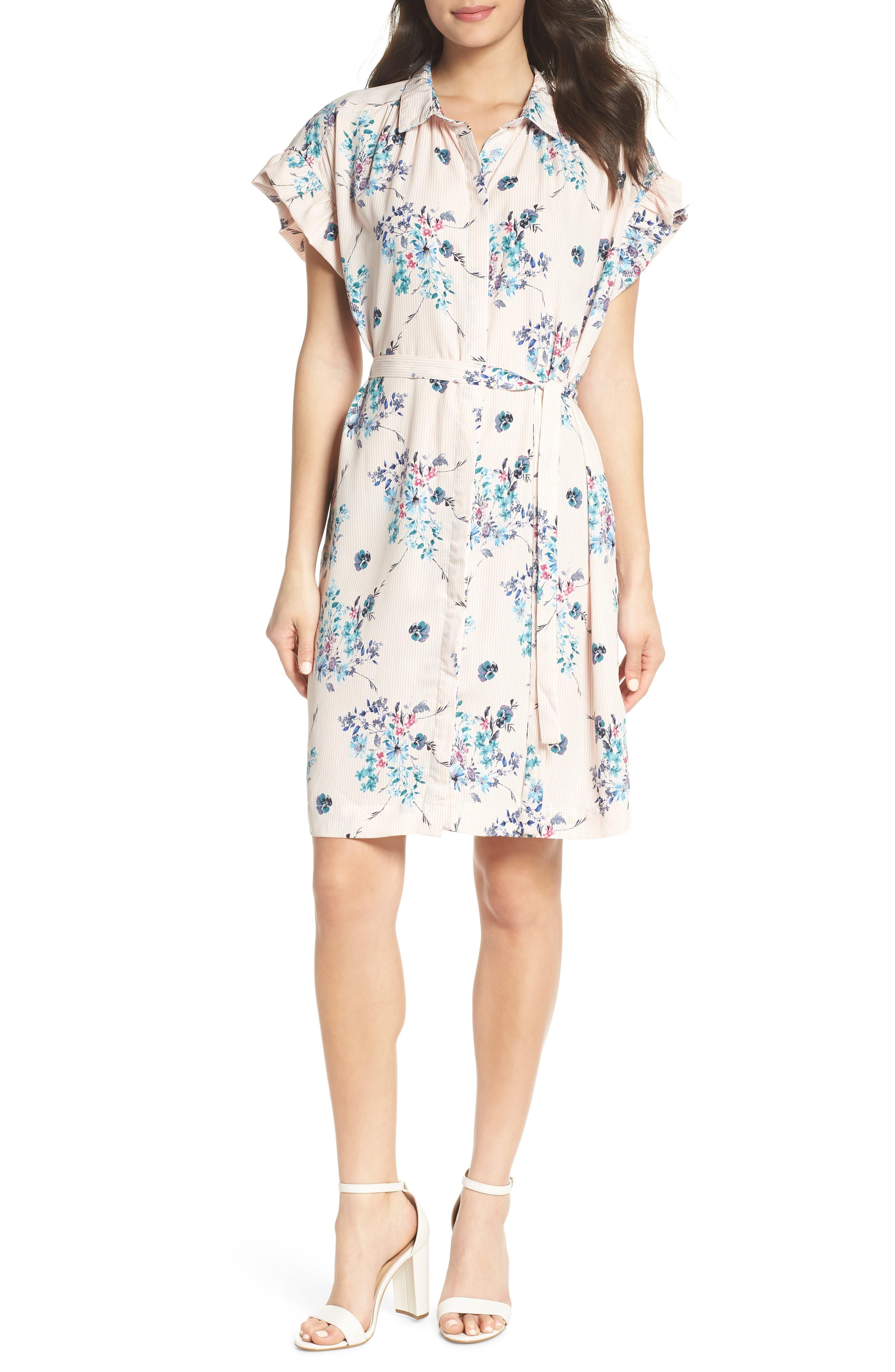 MARY & MABEL Ruffle Sleeve Shirt Dress, Main, color, 652