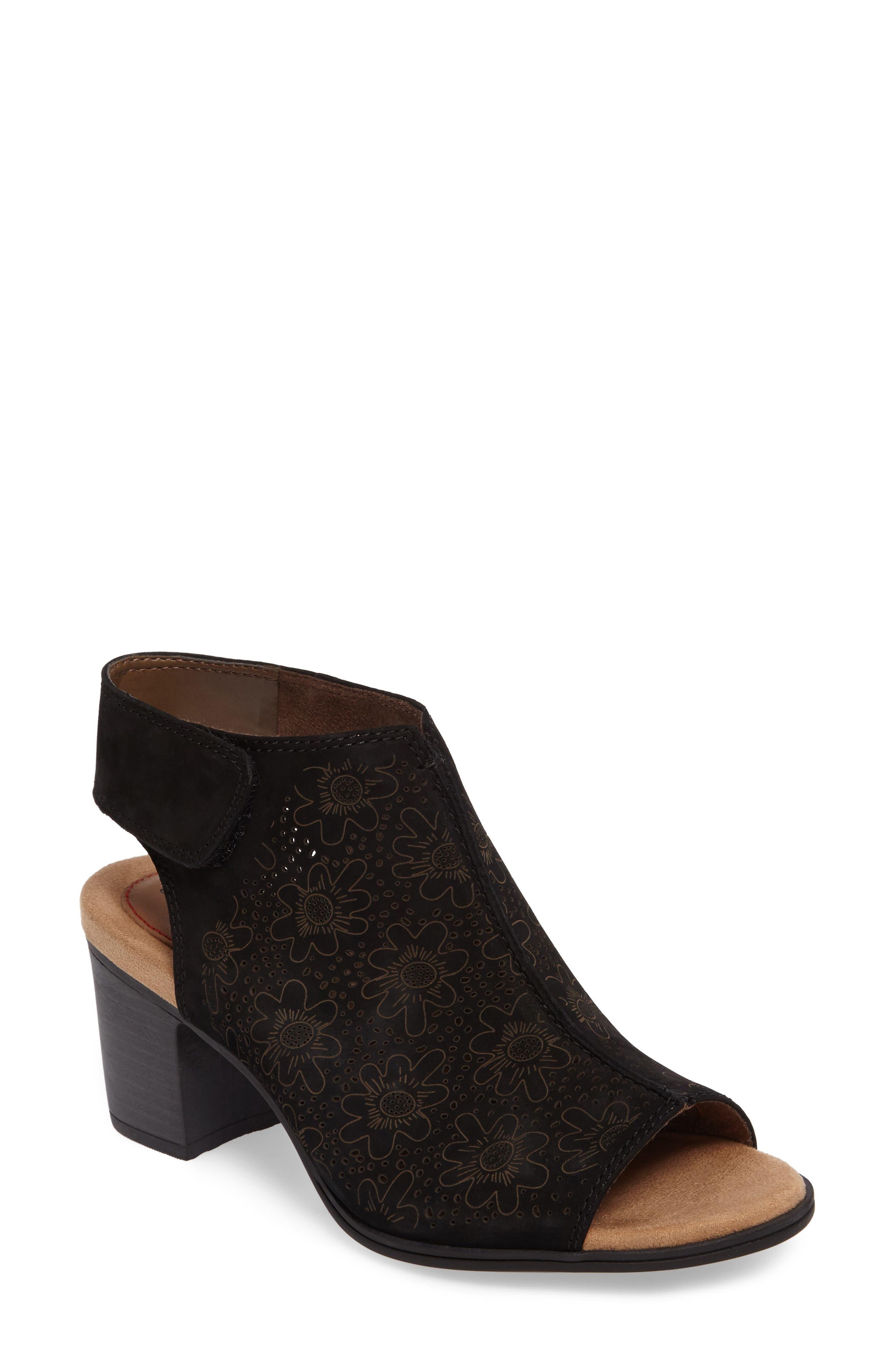 ROCKPORT COBB HILL,                             Hattie Perforated Slingback Sandal,                             Main thumbnail 1, color,                             BLACK NUBUCK
