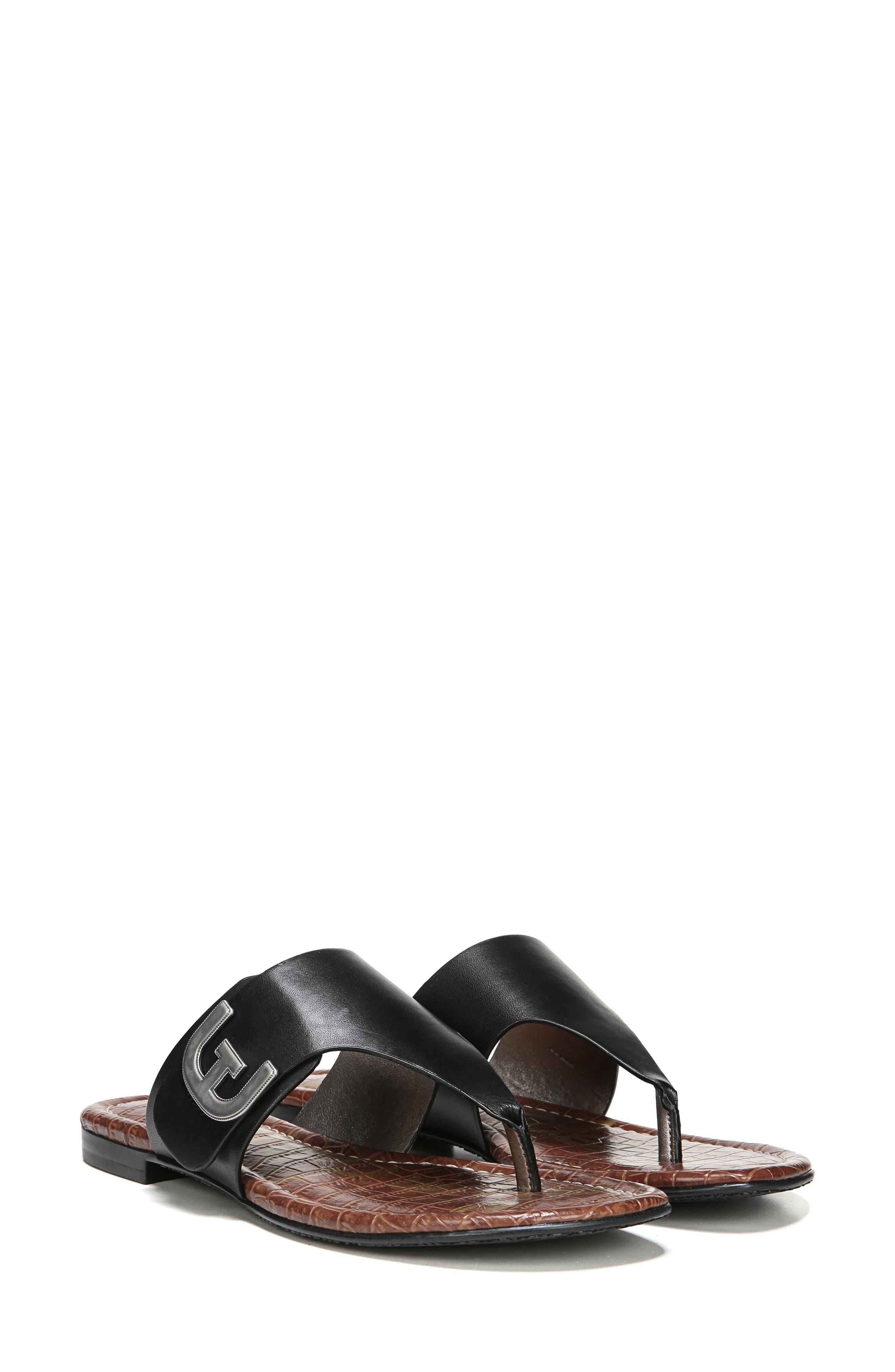 Barry Genuine Calf Hair V-Strap Sandal,                             Alternate thumbnail 8, color,                             001