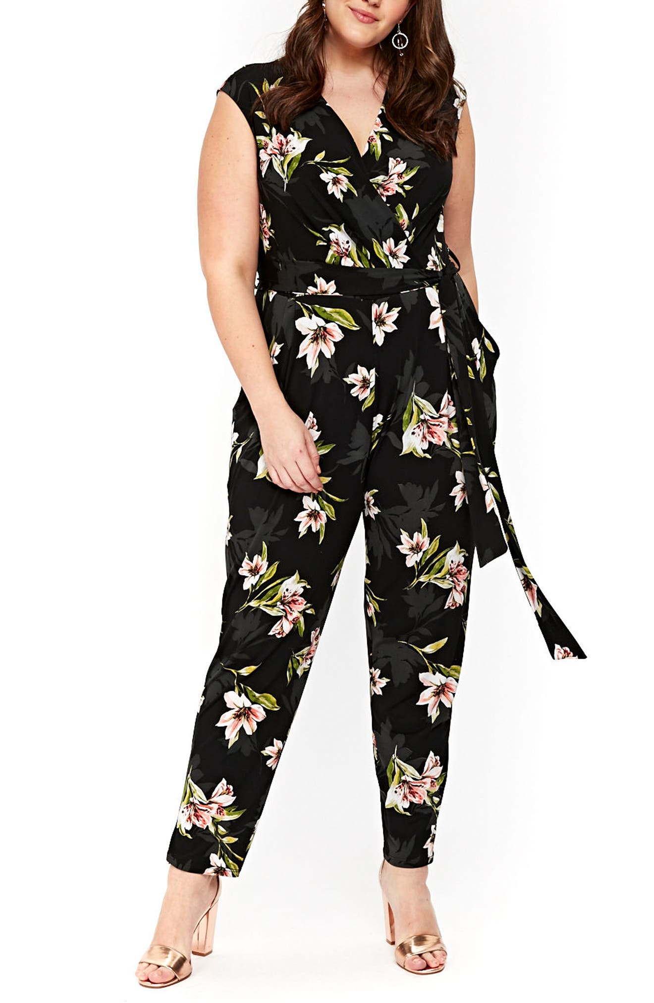 Floral Print Wrap Jumpsuit,                             Main thumbnail 1, color,                             006