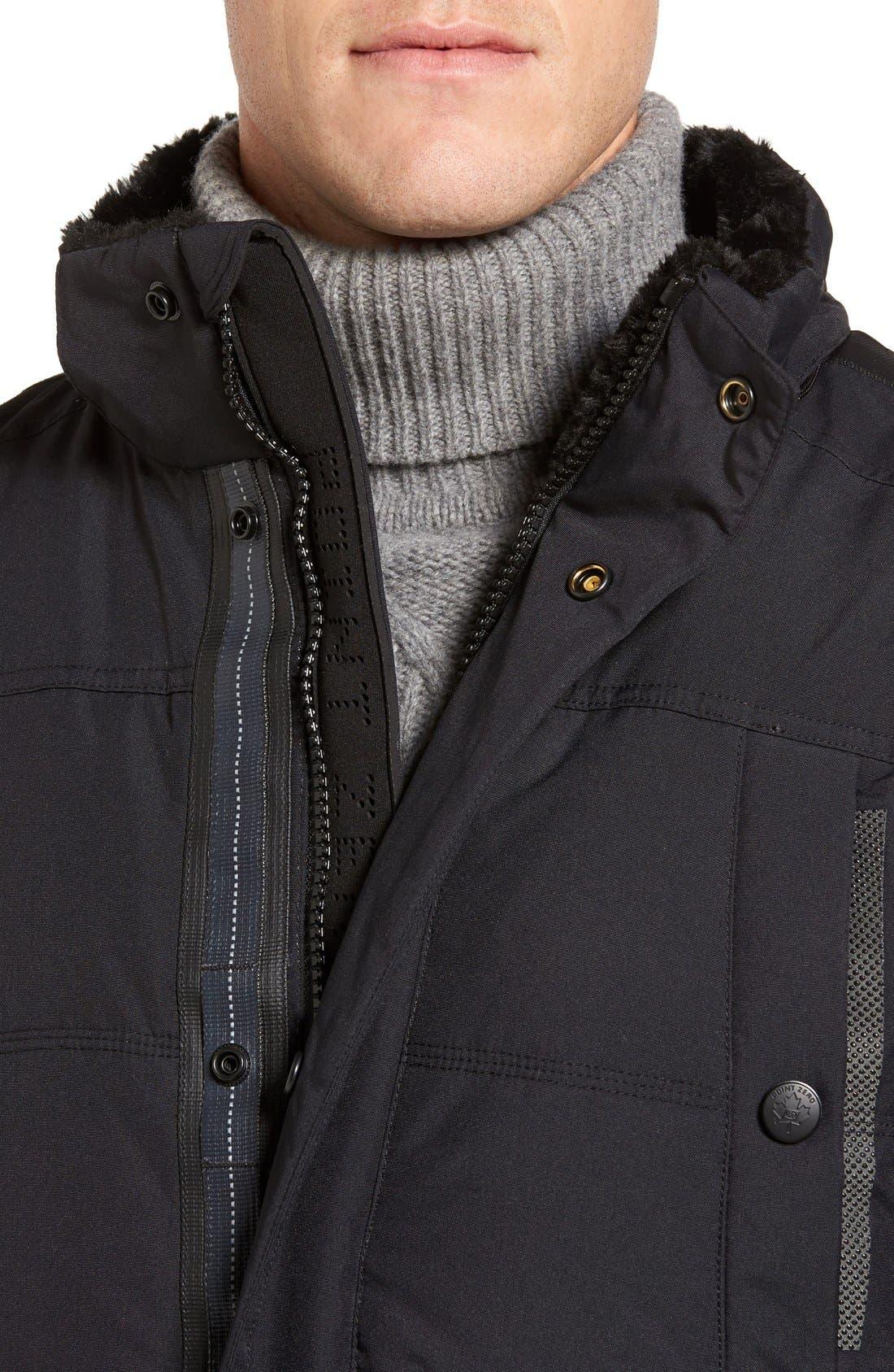 Down Jacket with Faux Fur Trim,                             Alternate thumbnail 4, color,                             001