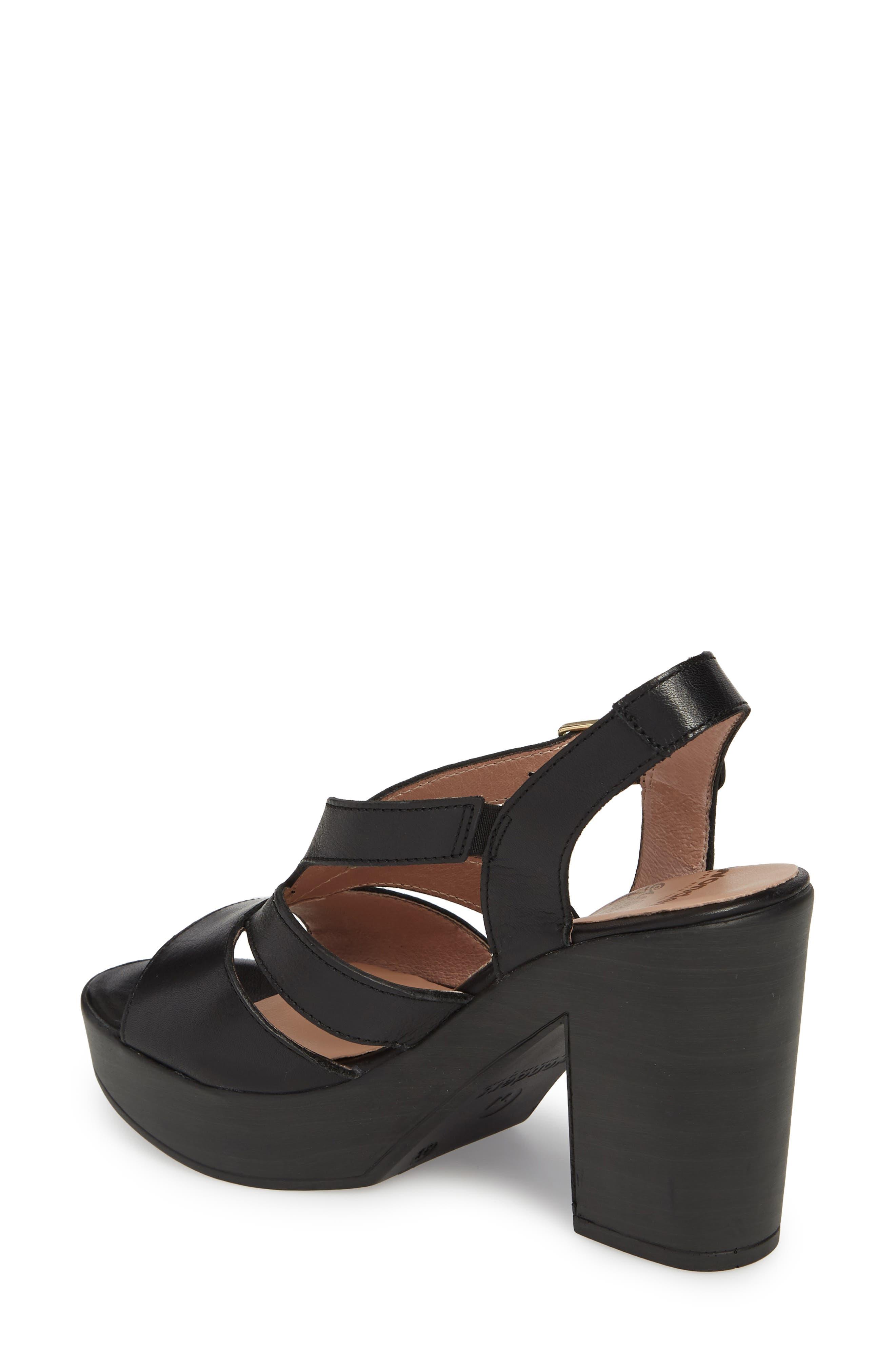 V-Strap Platform Sandal,                             Alternate thumbnail 2, color,                             BLACK LEATHER