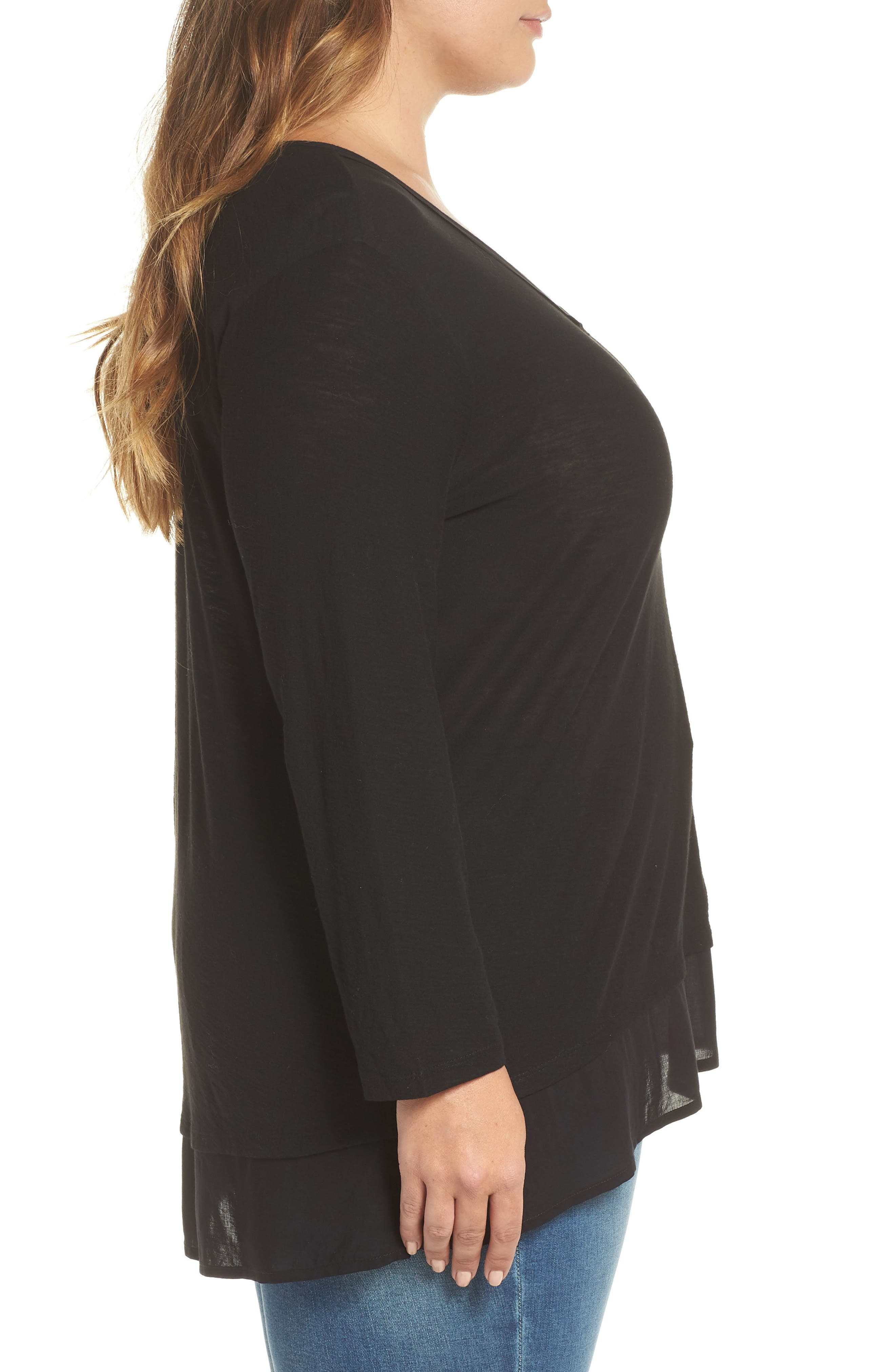 Woven Hem Layered Top,                             Alternate thumbnail 3, color,                             RICH BLACK