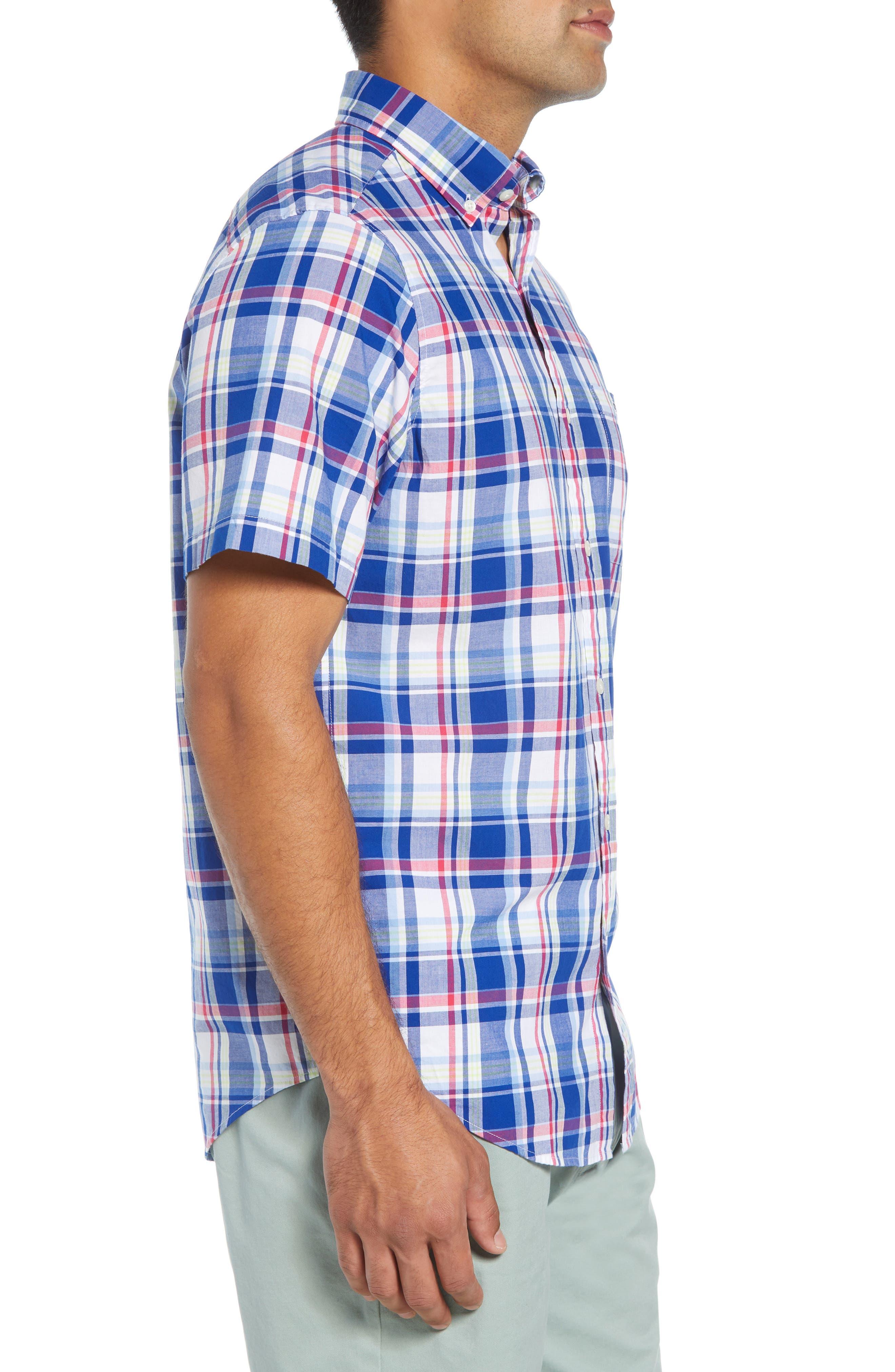 Classic Tucker Regular Fit Plaid Sport Shirt,                             Alternate thumbnail 4, color,                             461
