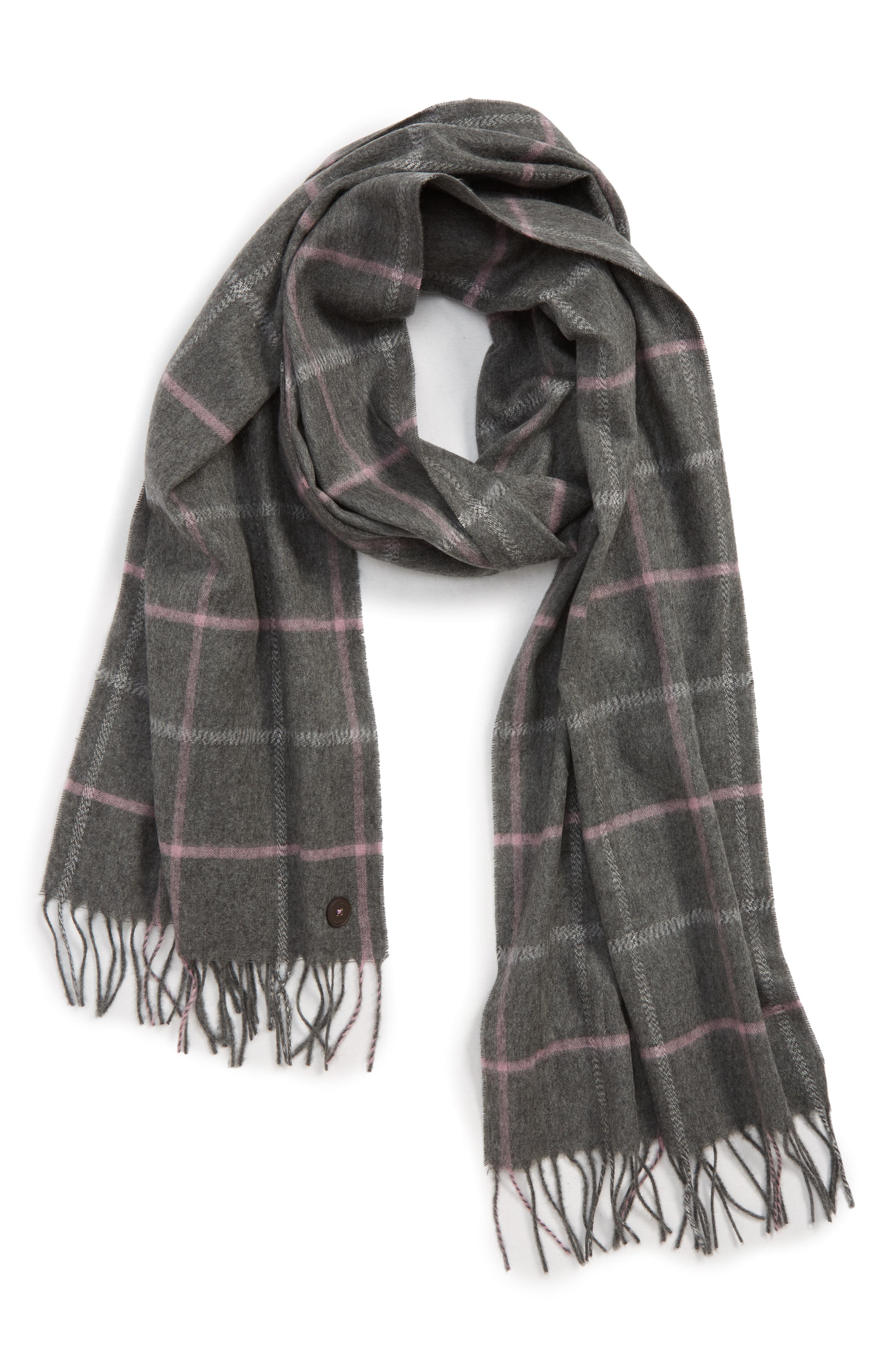 Window Check Fringed Scarf,                         Main,                         color, GREY-MARL