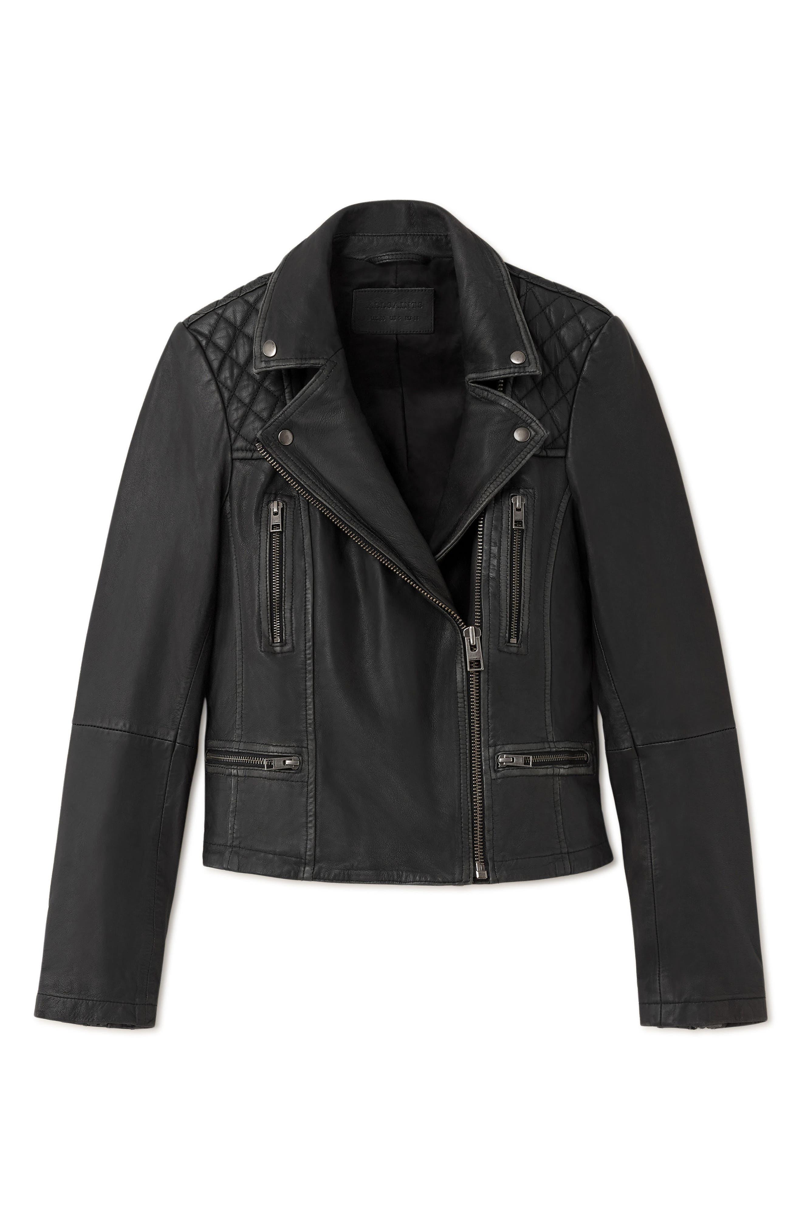 Cargo Biker Slim Fit Leather Jacket,                             Alternate thumbnail 4, color,                             BLACK GREY