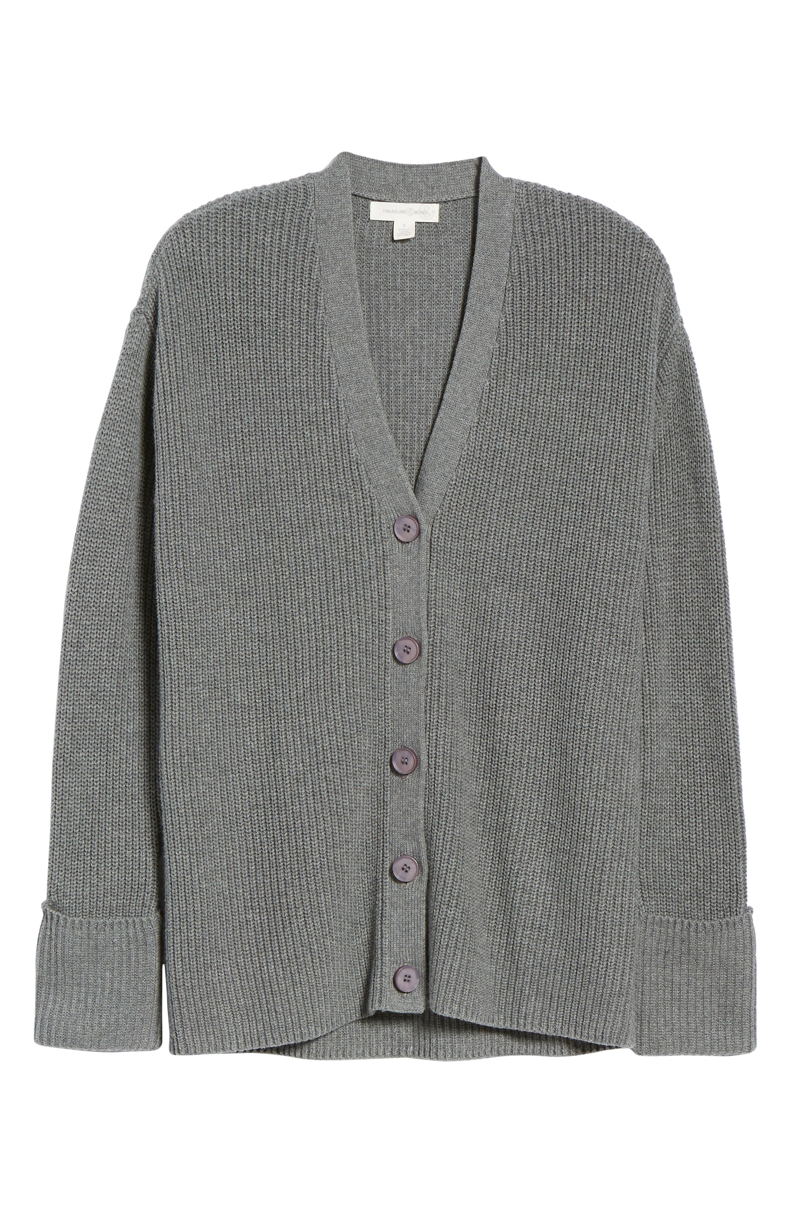 Ribbed Cardigan Sweater,                             Alternate thumbnail 6, color,                             GREY DARK HEATHER